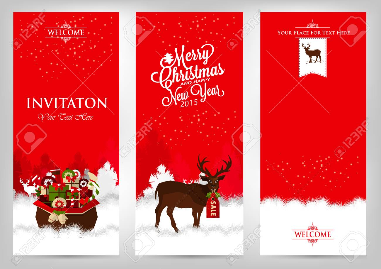 merry christmas and happy new year invitation cards with deer and gifts stock vector