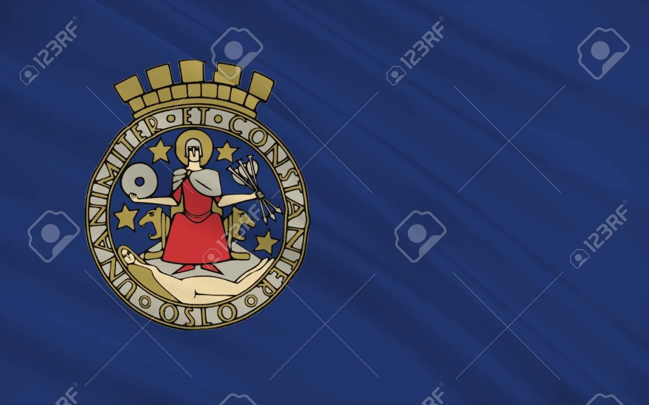 Flag Of Oslo è La Capitale E La Città Più Popolosa Della Norvegia