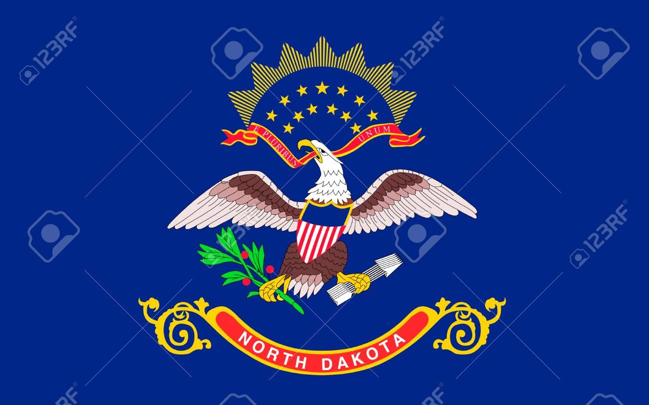 Flag Of North Dakota Is The 39th State Of The United States Stock