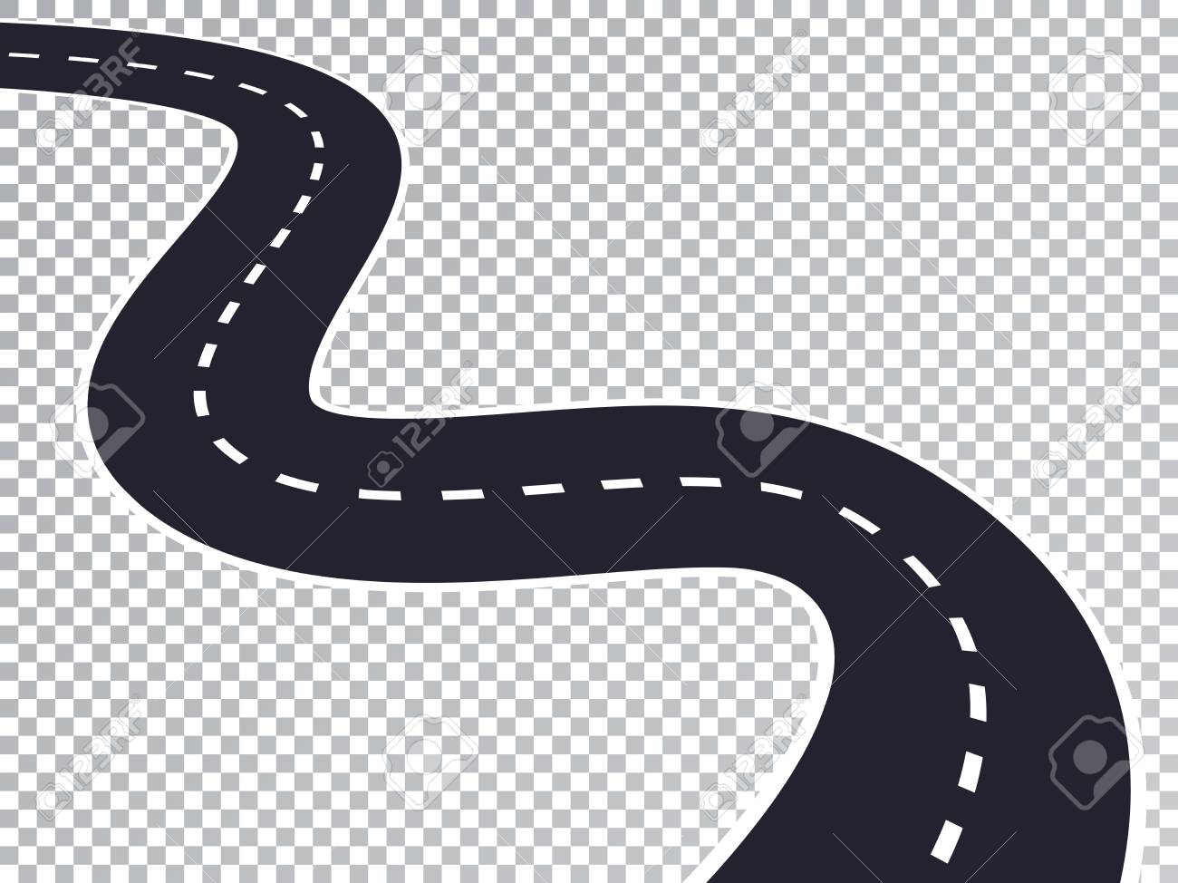 Winding Road Isolated Transparent Special Effect. Road way location infographic template. - 105228315