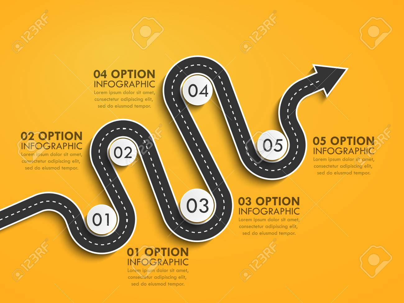 Road way location infographic template with a phased structure. Winding road timeline. Stylish Serpentine in the form of arrows. - 105228323