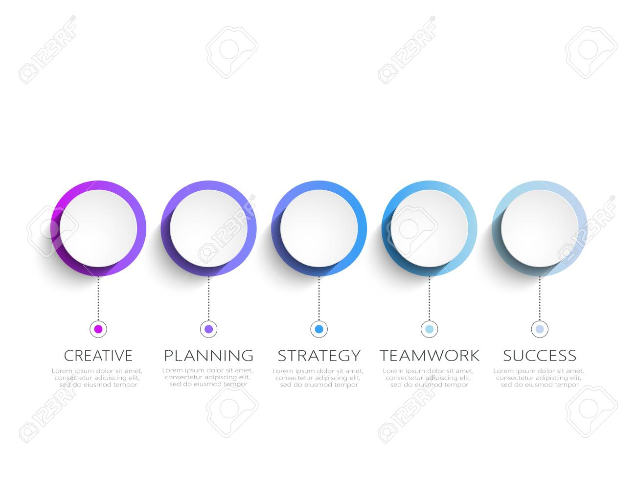 modern 3d infographic template with 5 steps business circle