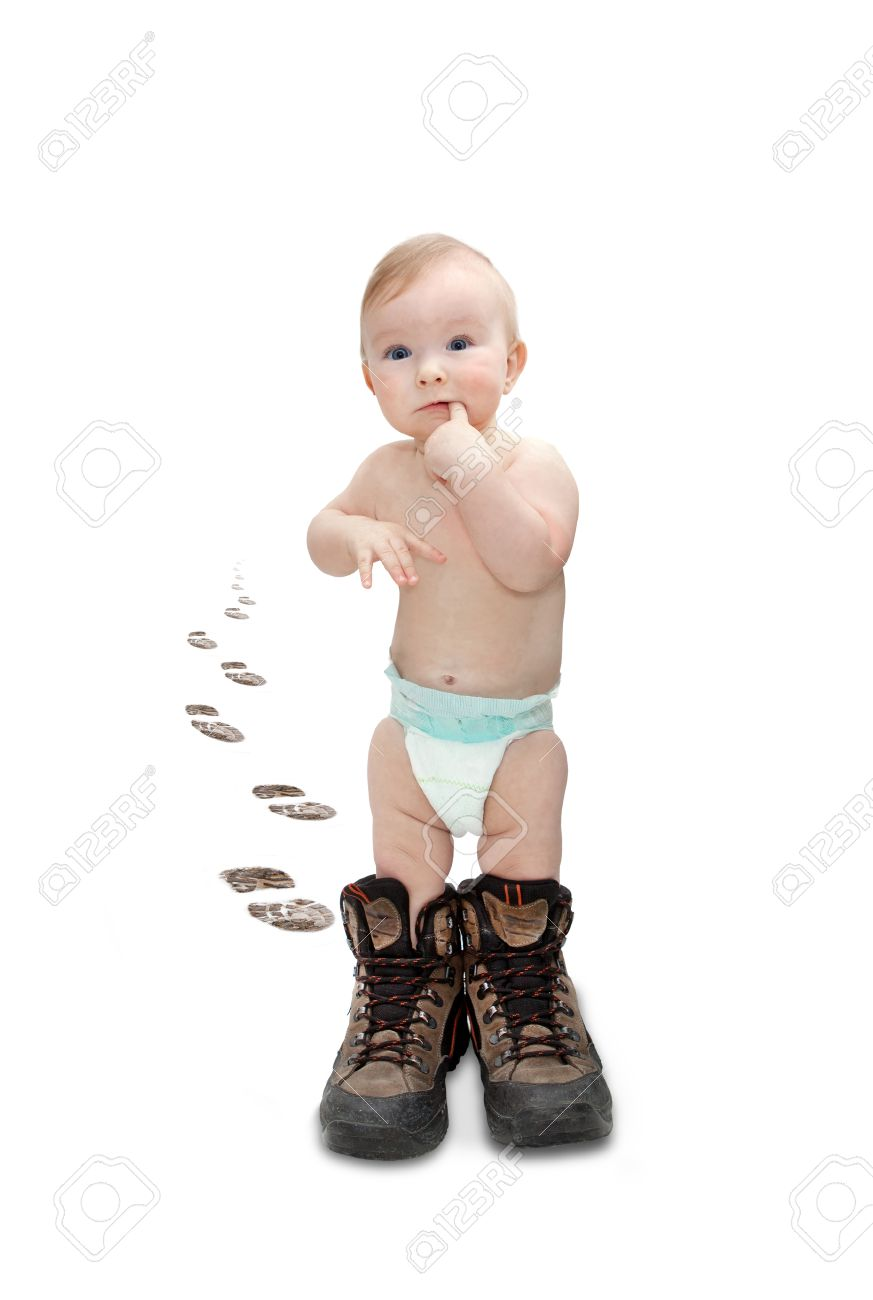 baby in big shoes Stock Photo - 24865525