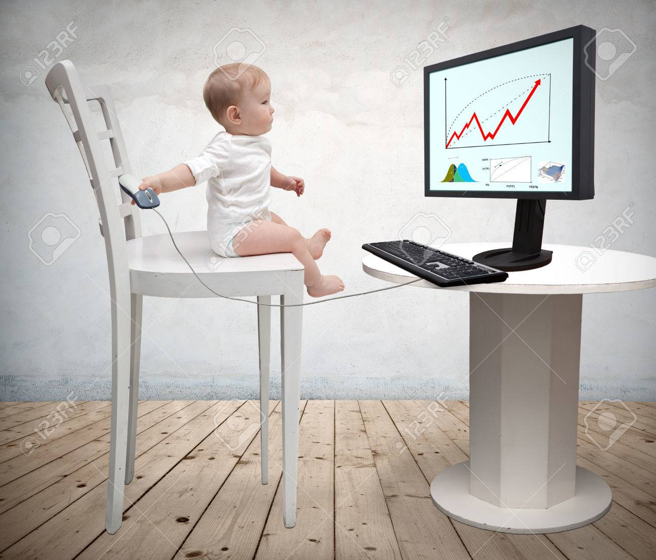 small child and a computer Stock Photo - 26717193