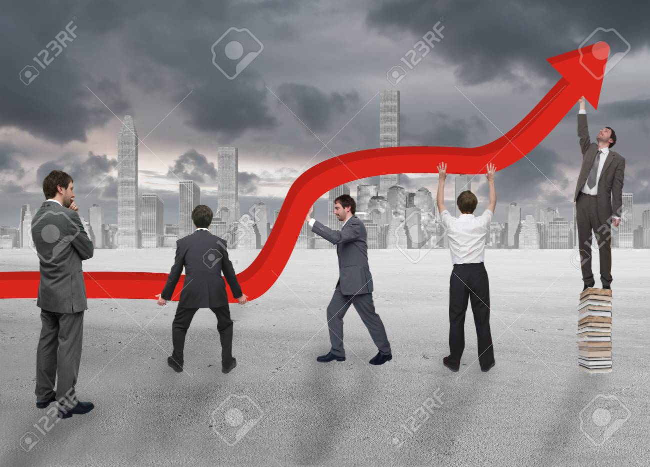 Group of business people working at lifting chart Stock Photo - 27901175