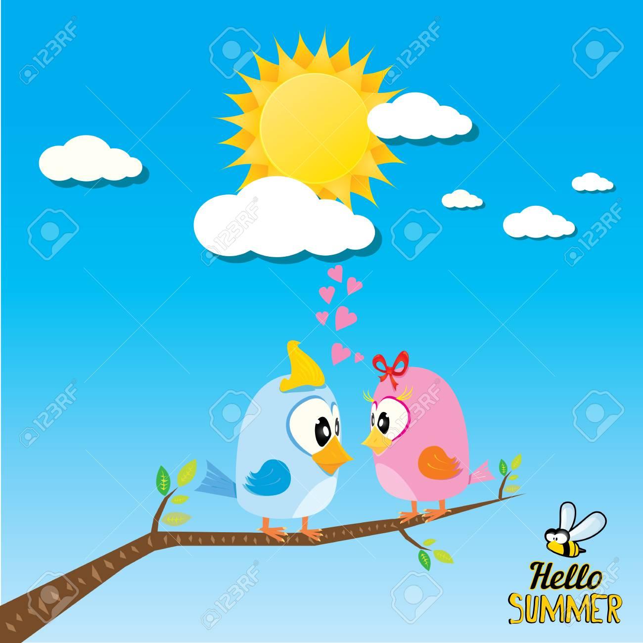 枝の鳥。漫画夏イラスト。夏の子供の背景 ロイヤリティフリークリップ