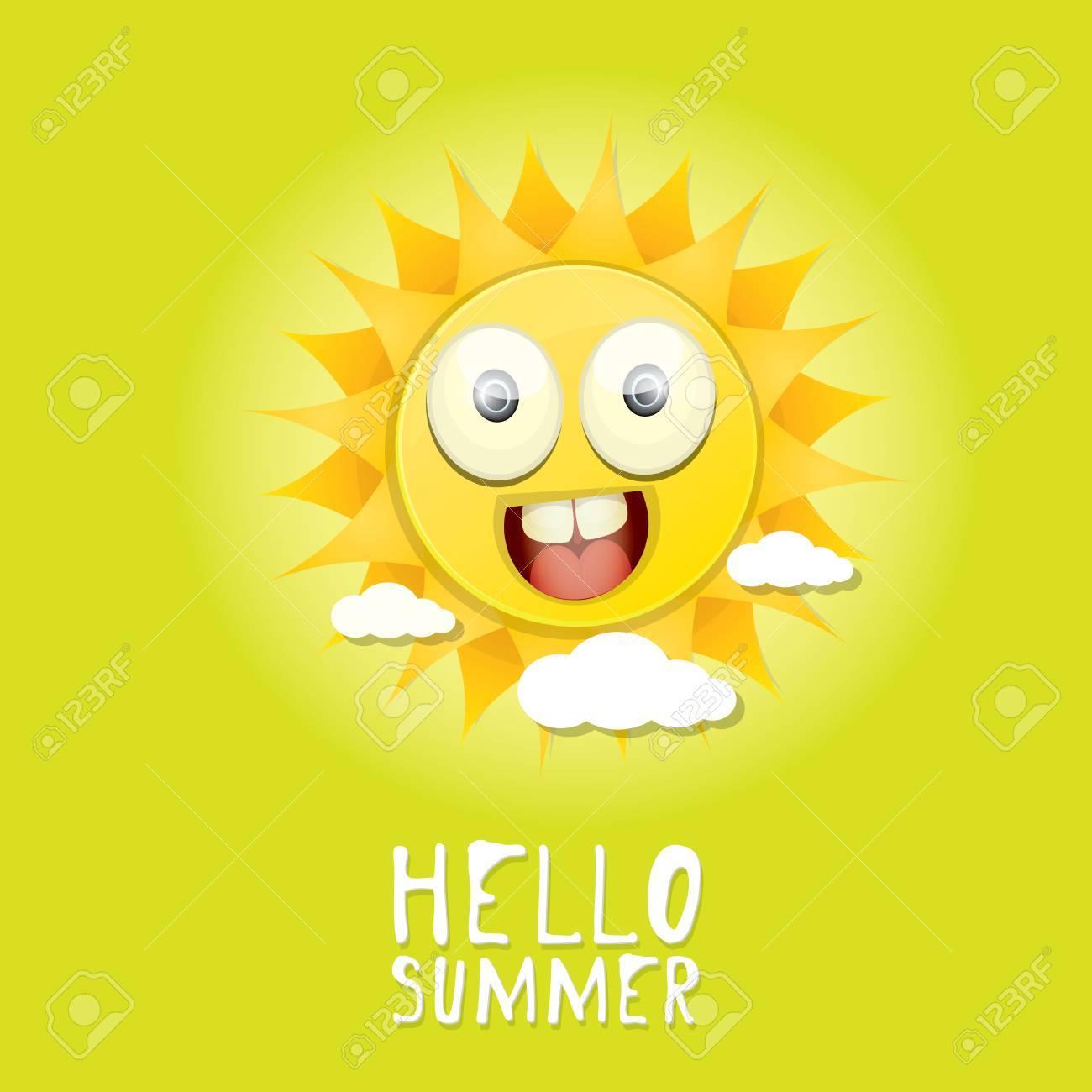 Hello Summer. Vector Summer Smiling Sun In Blue Sky Stock Vector   42570239