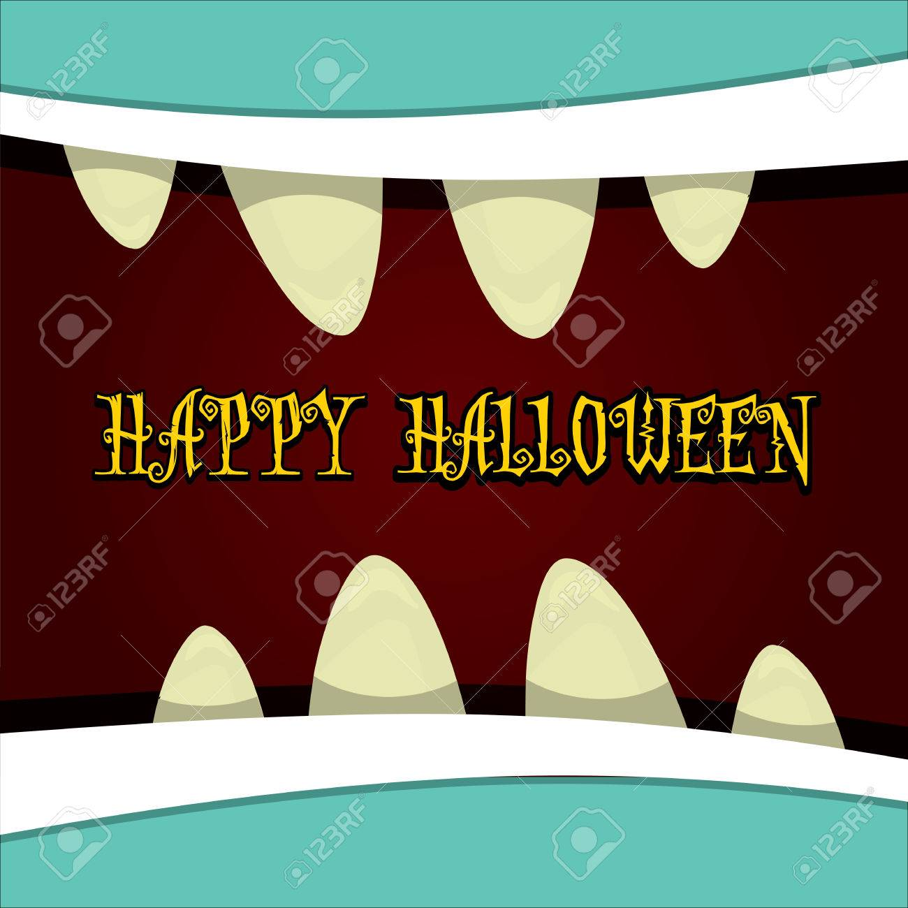 monster face vector illustration happy halloween greeting card