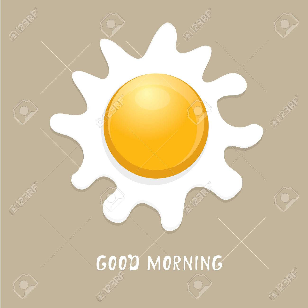 Fried Egg vector illustration. good morning concept. breakfast fried hen or chicken egg with a orange yolk in the centre of the fried egg. - 44950130