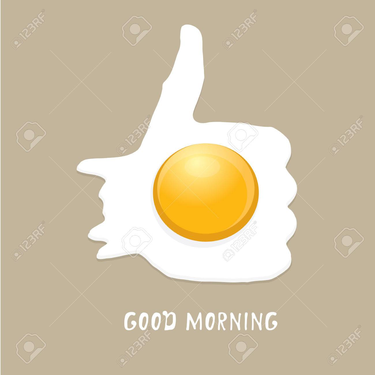Fried Egg vector illustration. good morning concept. breakfast fried hen or chicken egg with a orange yolk in the centre of the fried egg. - 44950133