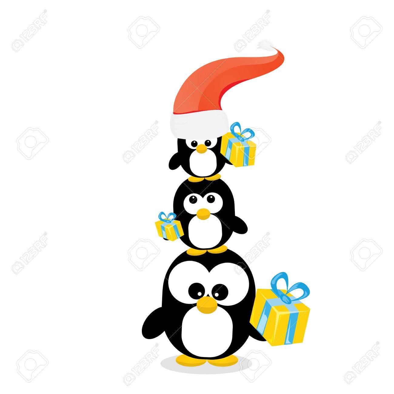 Tarjeta De Navidad Feliz Con Los Pingüinos Establecidos Dibujos