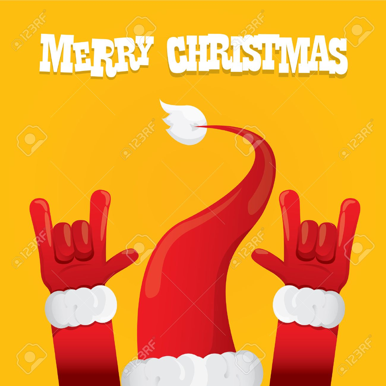Christmas Rock.Santa Claus Hand Rock N Roll Icon Illustration Christmas Rock