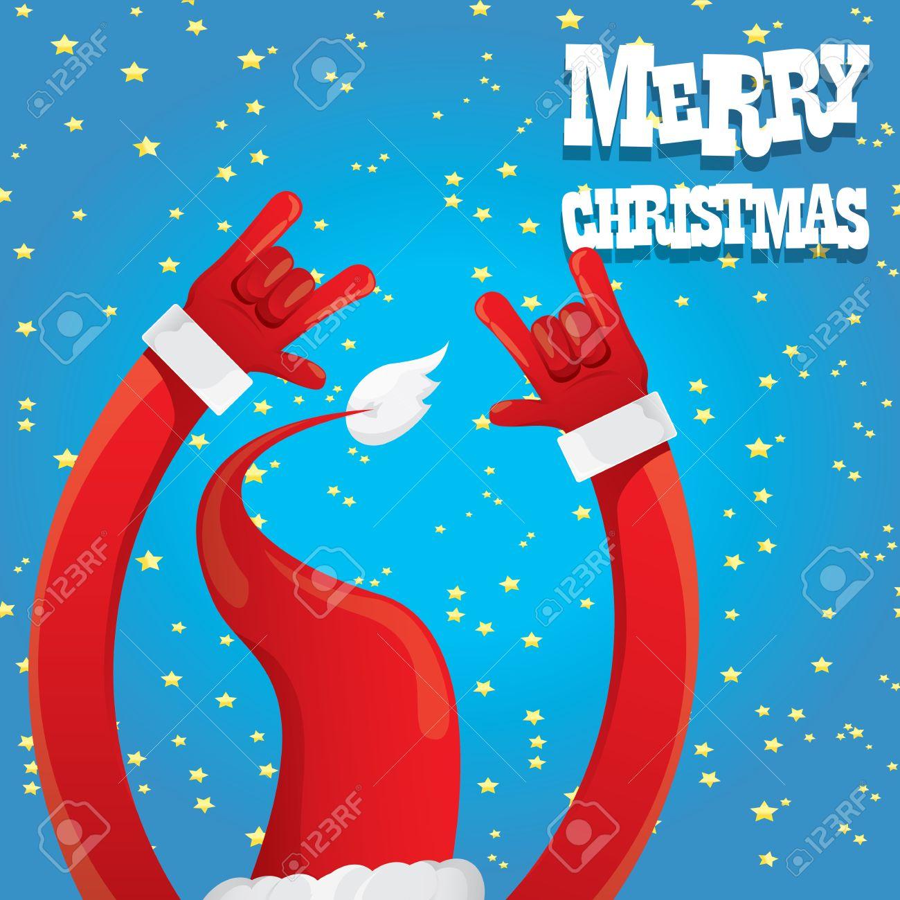Rock n roll poster design - Santa Claus Hand Rock N Roll Icon Illustration Christmas Rock N Roll Concert Poster Design