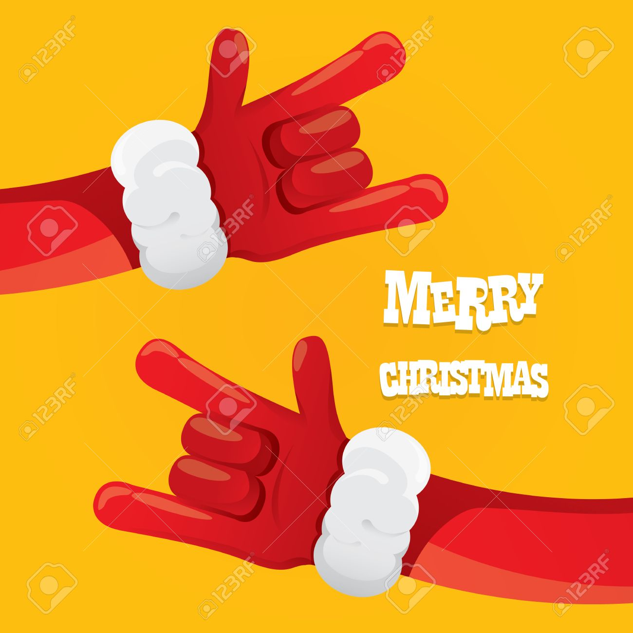 Rock n roll poster design - Santa Claus Hand Rock N Roll Icon Illustration Christmas Rock Concert Poster Design Template Or
