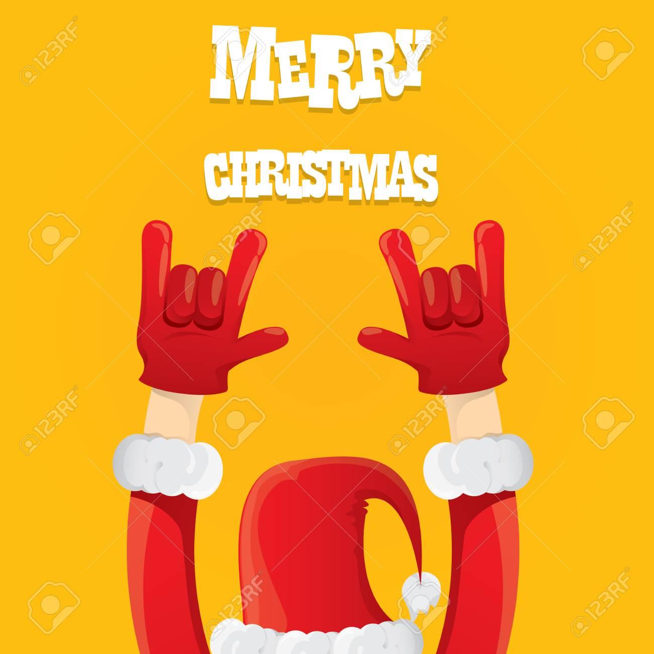 Weihnachtsmann Hand Rock N Roll Icon. Christmas Rock-Konzert-Plakat ...