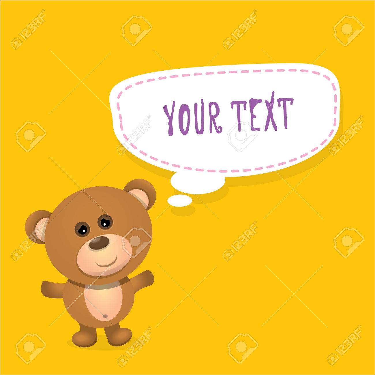 Vector Teddy Bear With Speech Bubble For Text Funny Kids Background