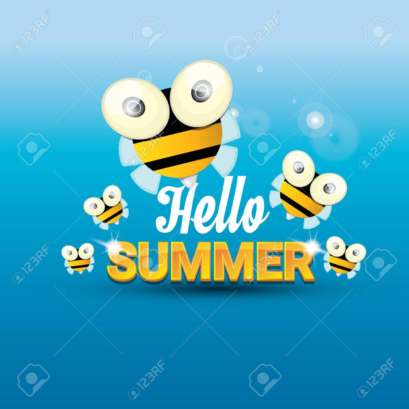 Lovely Hello Summer With Sunny Sky And Baby Bee Flying. Kids Background With Funny  Cartoons Bee