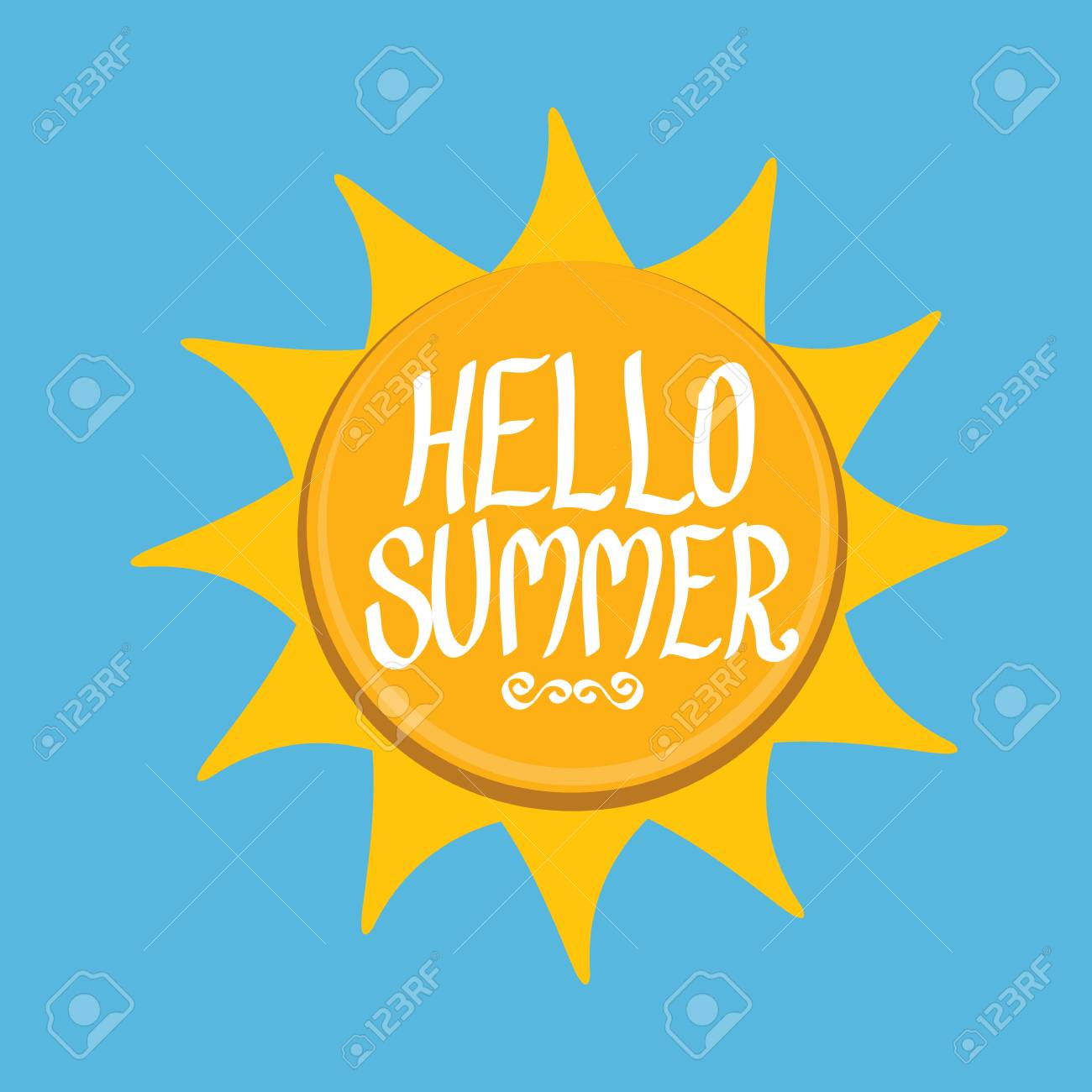 Vector   Vector Summer Fun Background. Hello Summer Funny Vector  Illustration. Vector Hand Lettering Typography Poster Hello Summer. Hand  Drawn Summer Card
