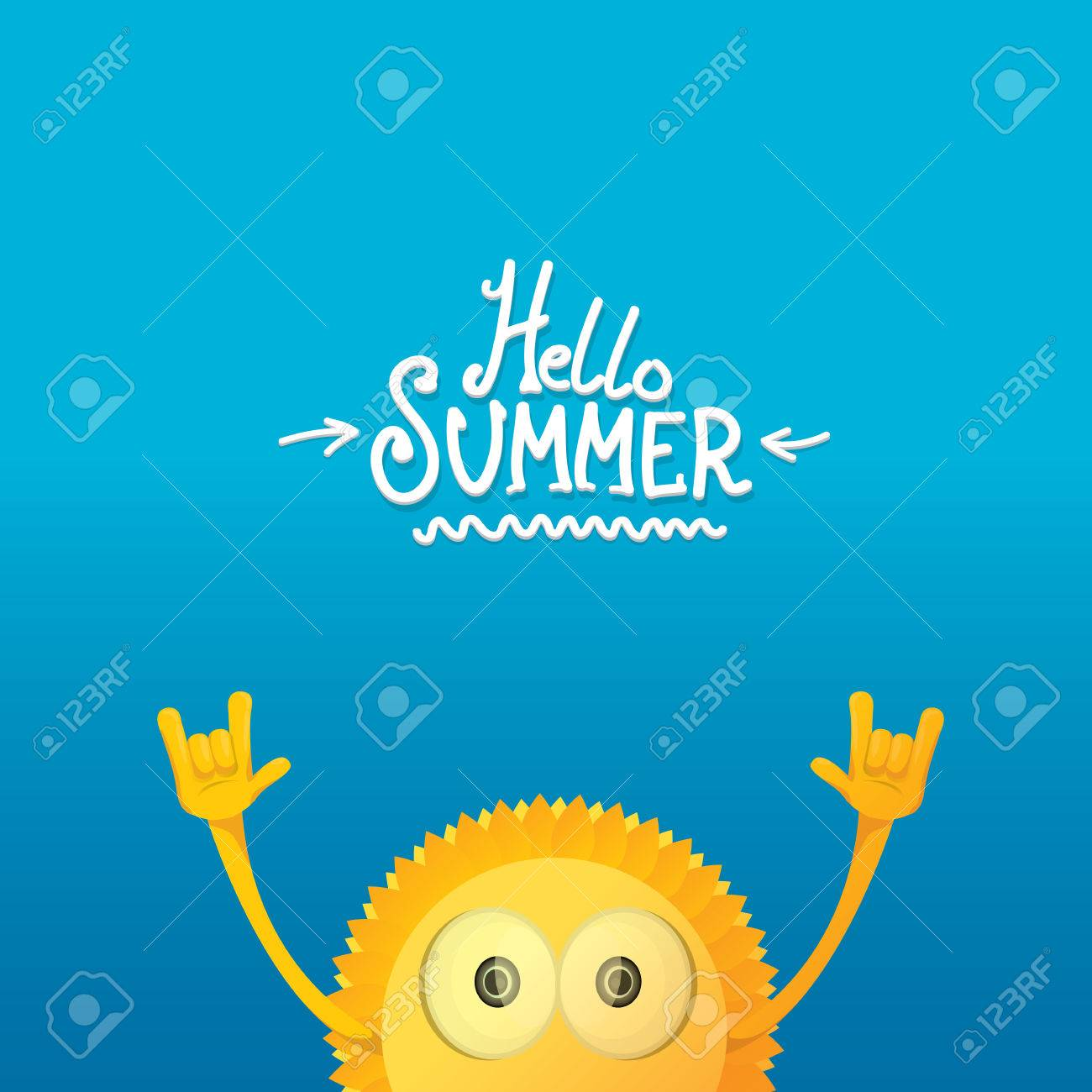 Rock n roll poster design - Vector Hello Summer Rock N Roll Poster Summer Party Design Template