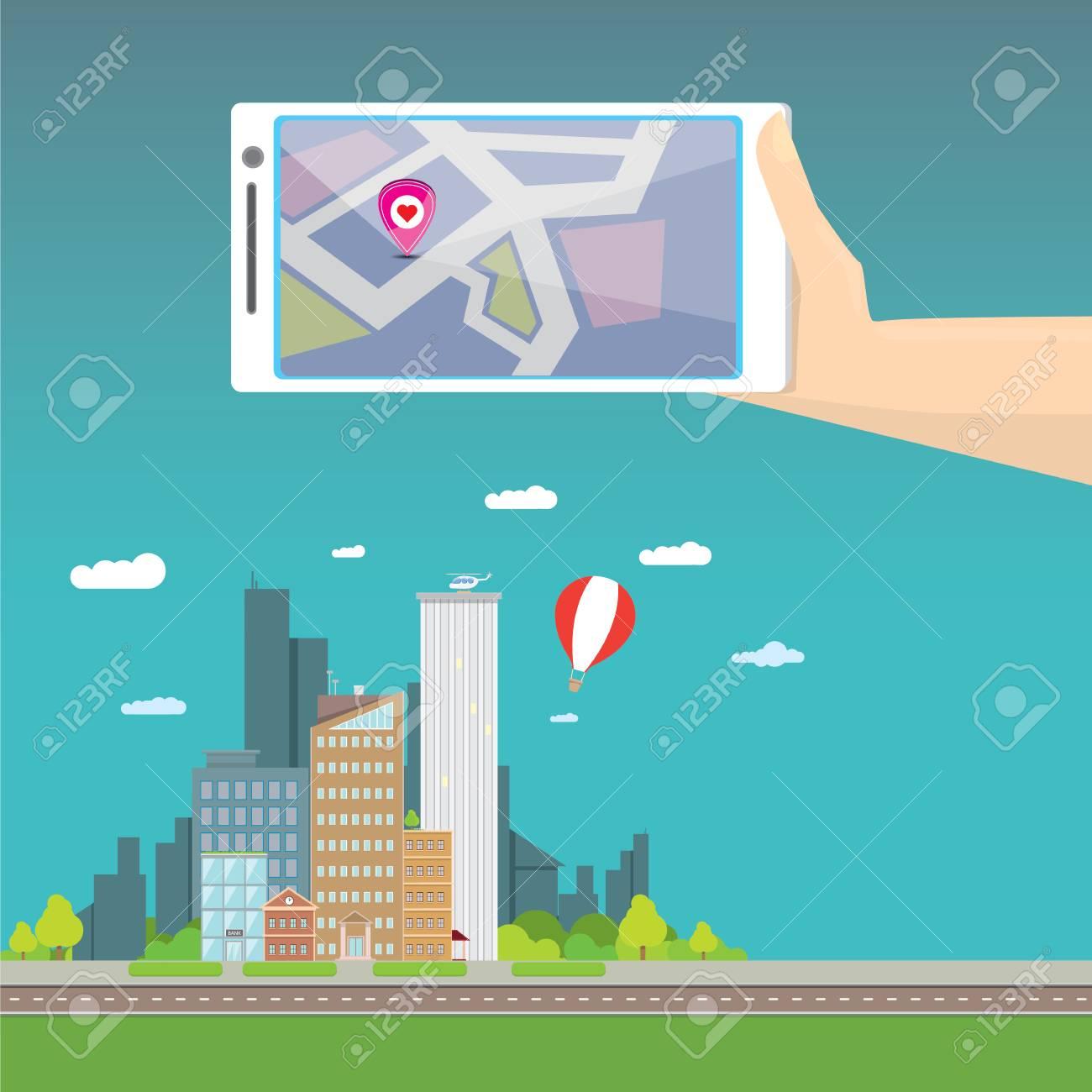 City internet navigation concept web banner  Panoramic flat city