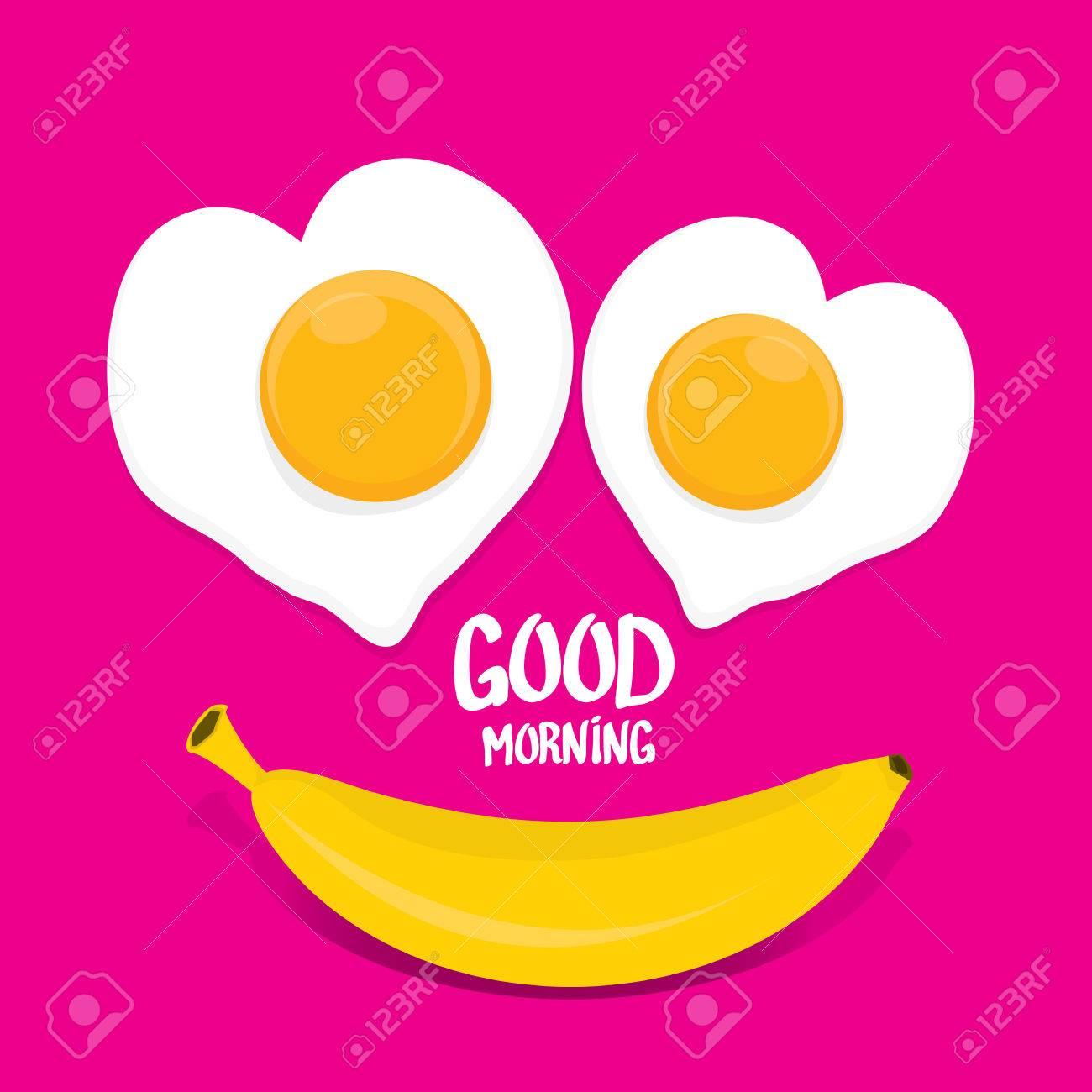 Bon Vecteur Matin Notion Drole Fond Vecteur Bon Sourire Du Matin A Base De Banane Et Uf Frit Clip Art Libres De Droits Vecteurs Et Illustration Image 61774739