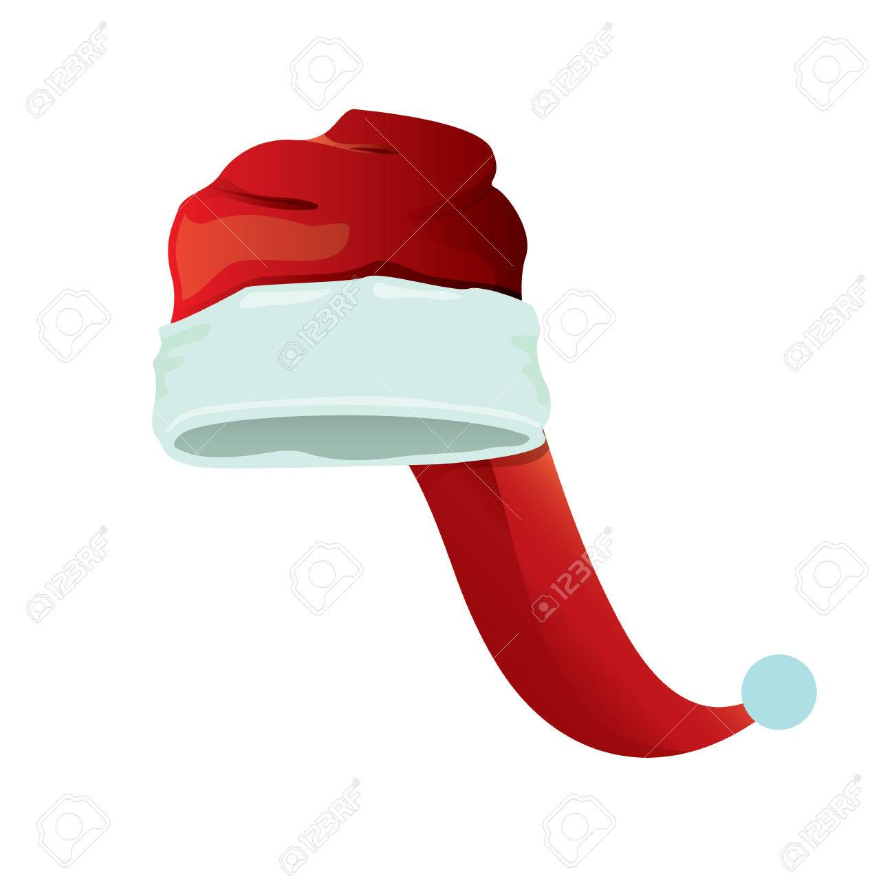 red cartoon santa claus hat isolated on white background. vector red santa  hat icon isolated 5845f5a7cd4c