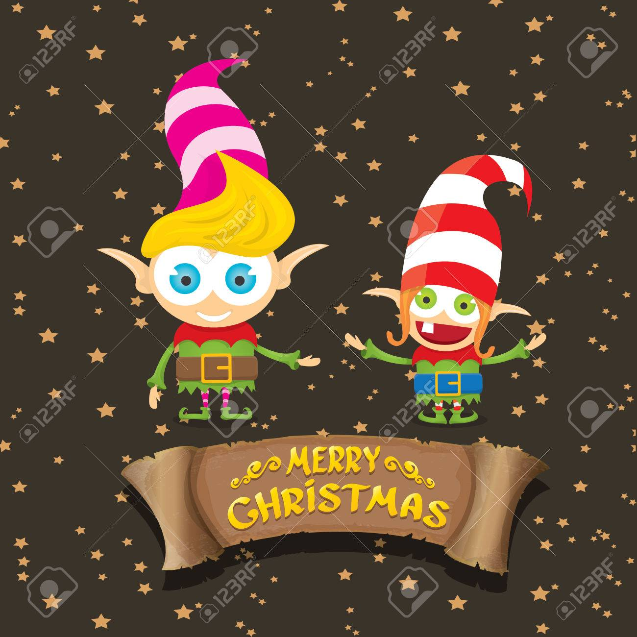 Vector Cartoon Cute Merry Christmas Elf On Brown Background With