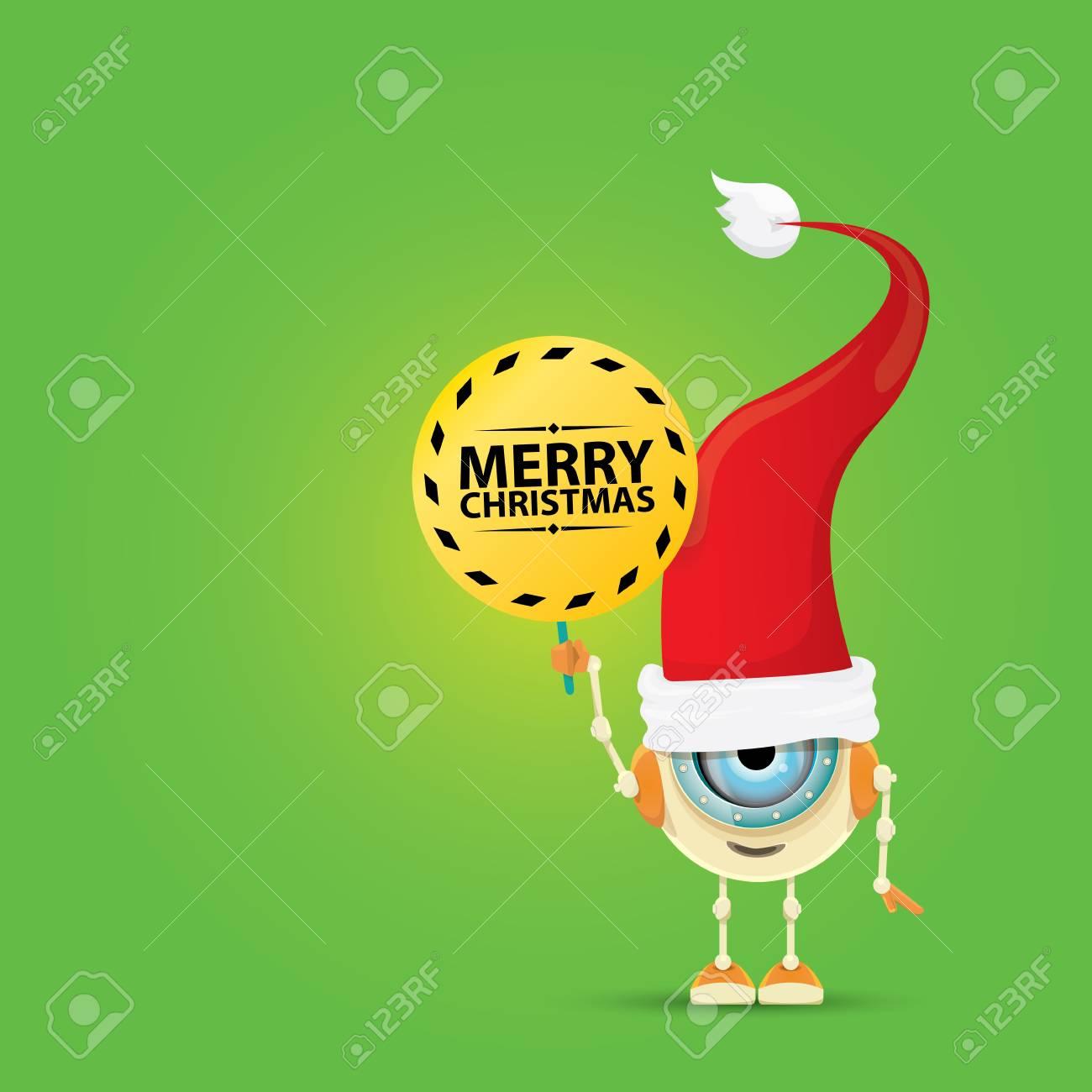 Cartoon Robot Mignon Avec Joyeux Noel Santa Claus Chapeau Rouge