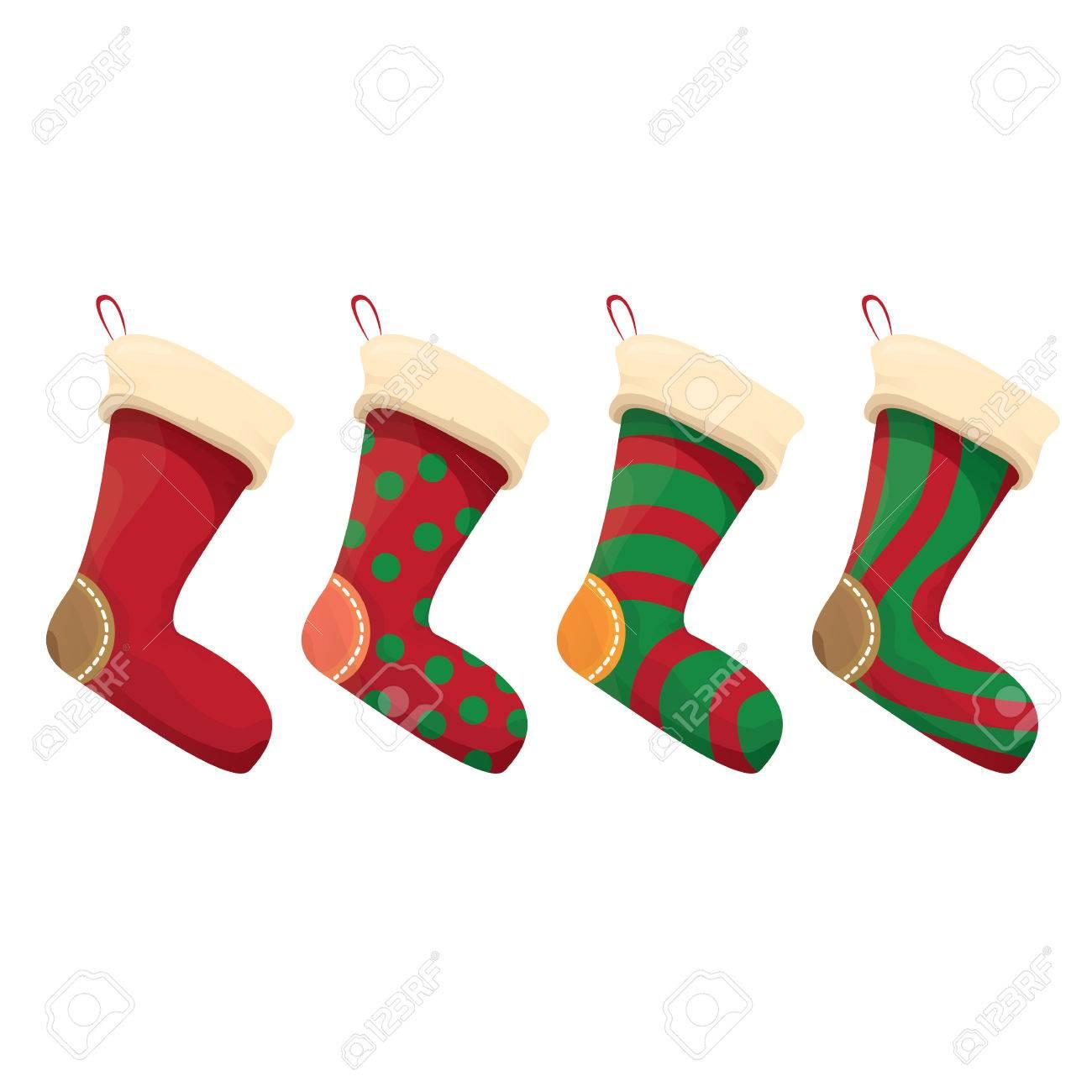 Cartoon Cute Weihnachten Strumpf Mit Farbe Ornament Isoliert Auf ...