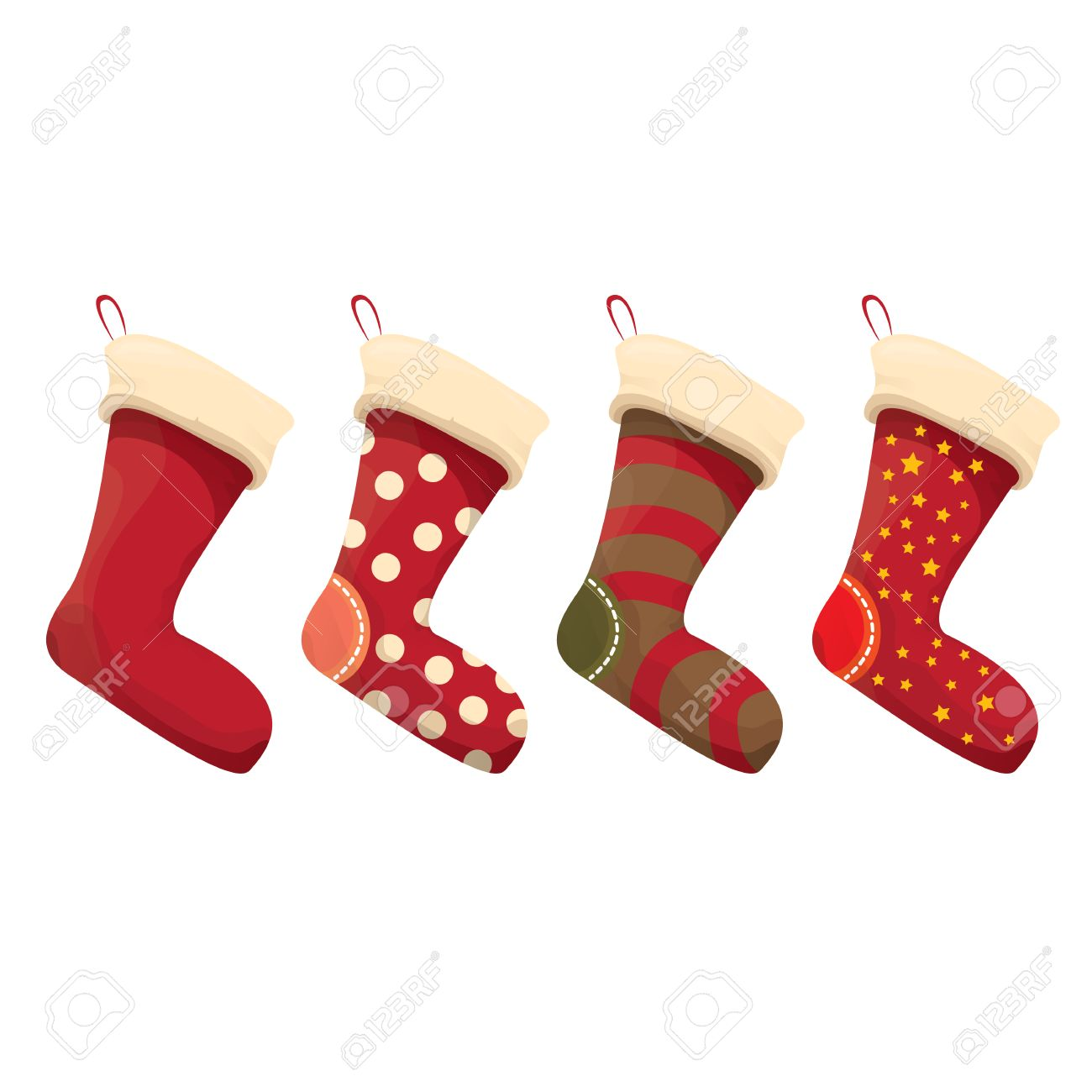 Christmas Stockings Cartoon.Cartoon Cute Christmas Stocking With Color Ornament Isolated