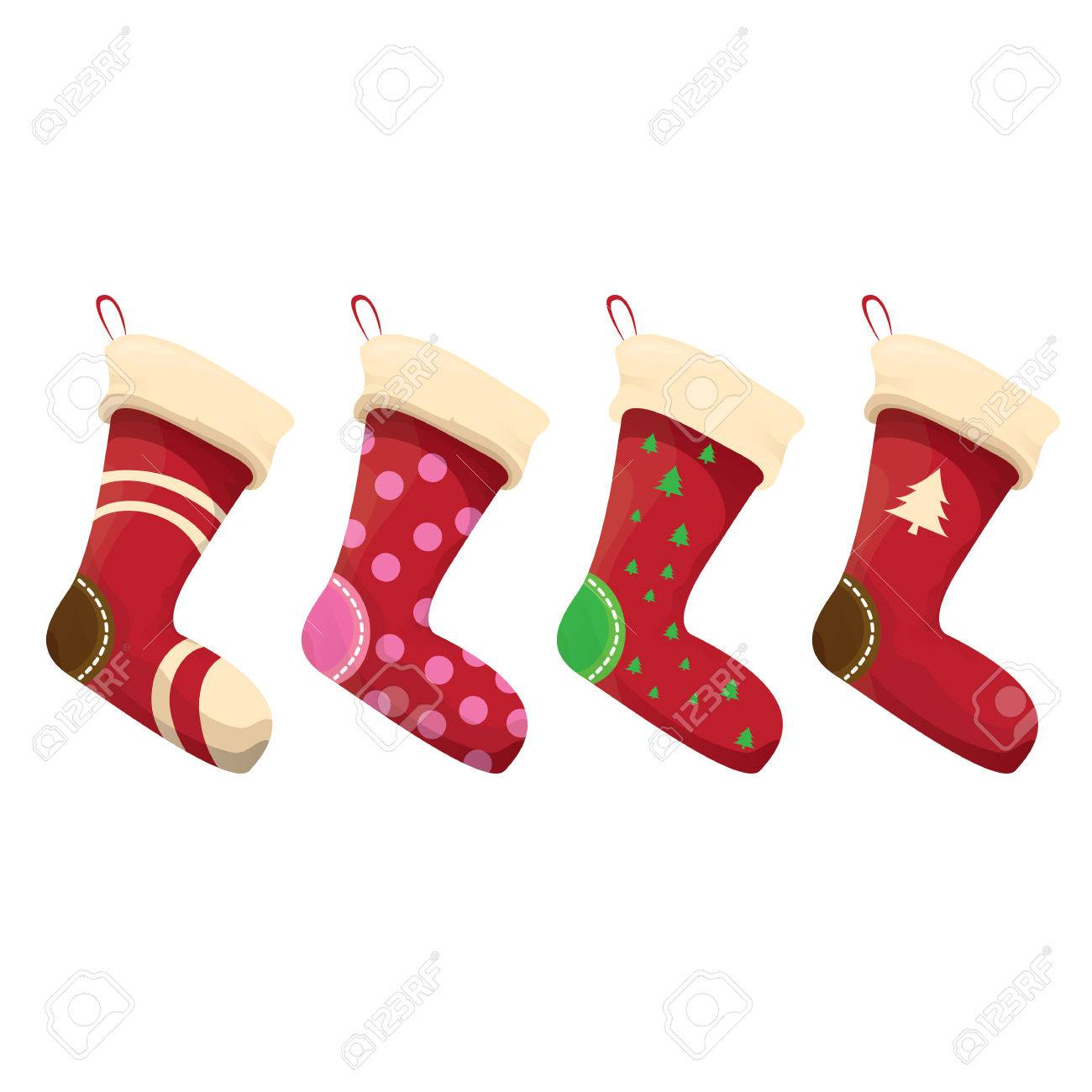 cartoon cute christmas stocking with color ornament isolated