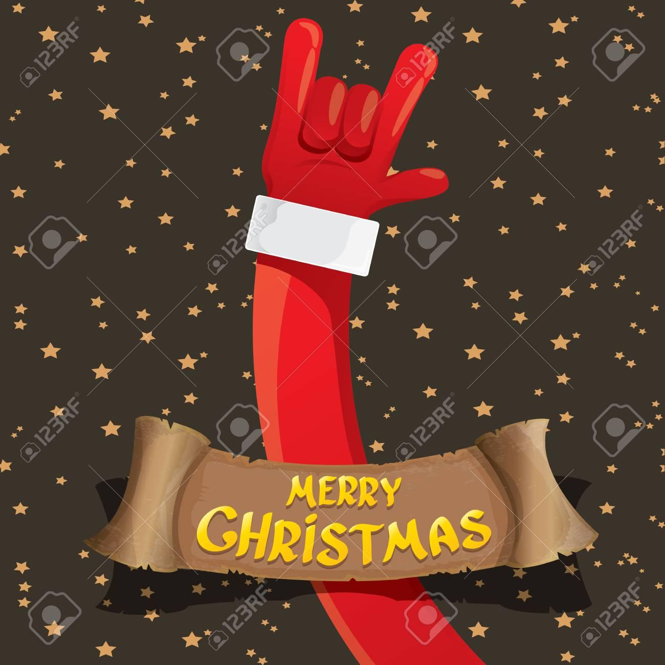 Weihnachtsmann Hand Rock N Roll Gesten Icon. Christmas Rock N ...