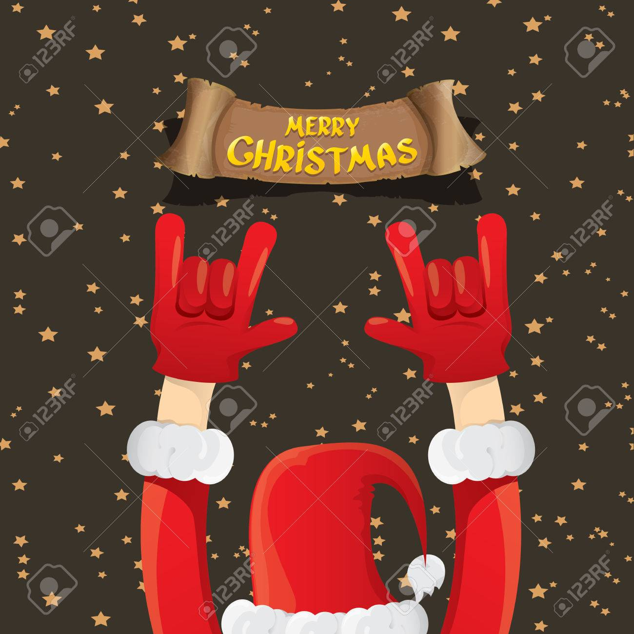 Rock n roll poster design - Santa Claus Hand Rock N Roll Gesture Icon Illustration Christmas Rock N Roll Concert Poster