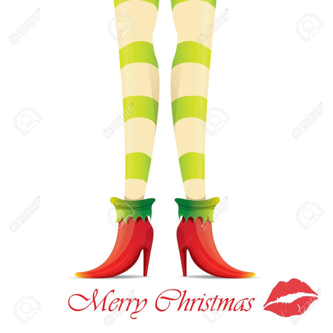 creative merry christmas greeting card with cartoon elf girls rh 123rf com