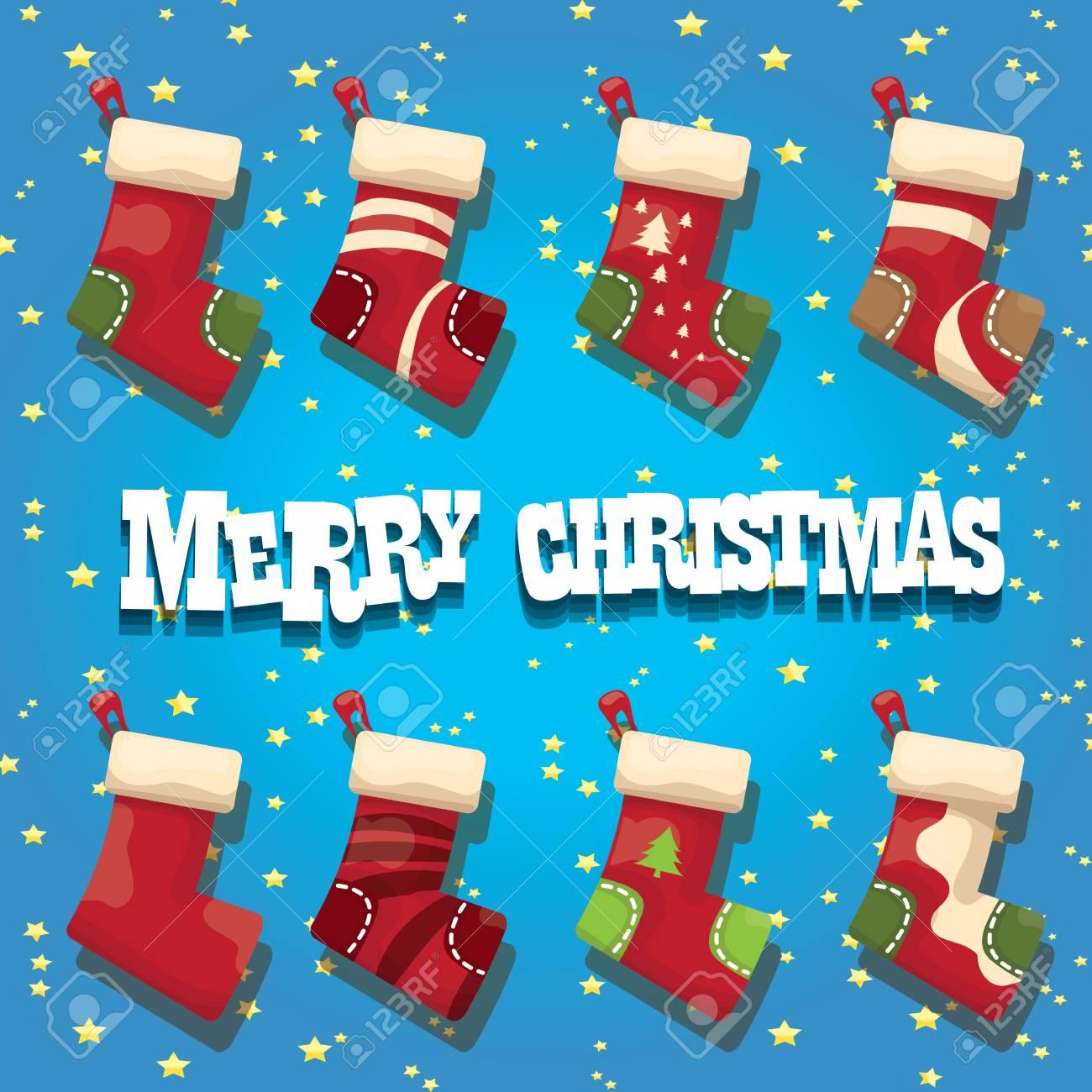 Dessin Animé Vecteur Bas De Noël Mignon Ou Chaussettes Avec Ornement De Couleur Joyeux Noël Carte De Voeux Ou Vecteur De Fond Avec Des Lumières De