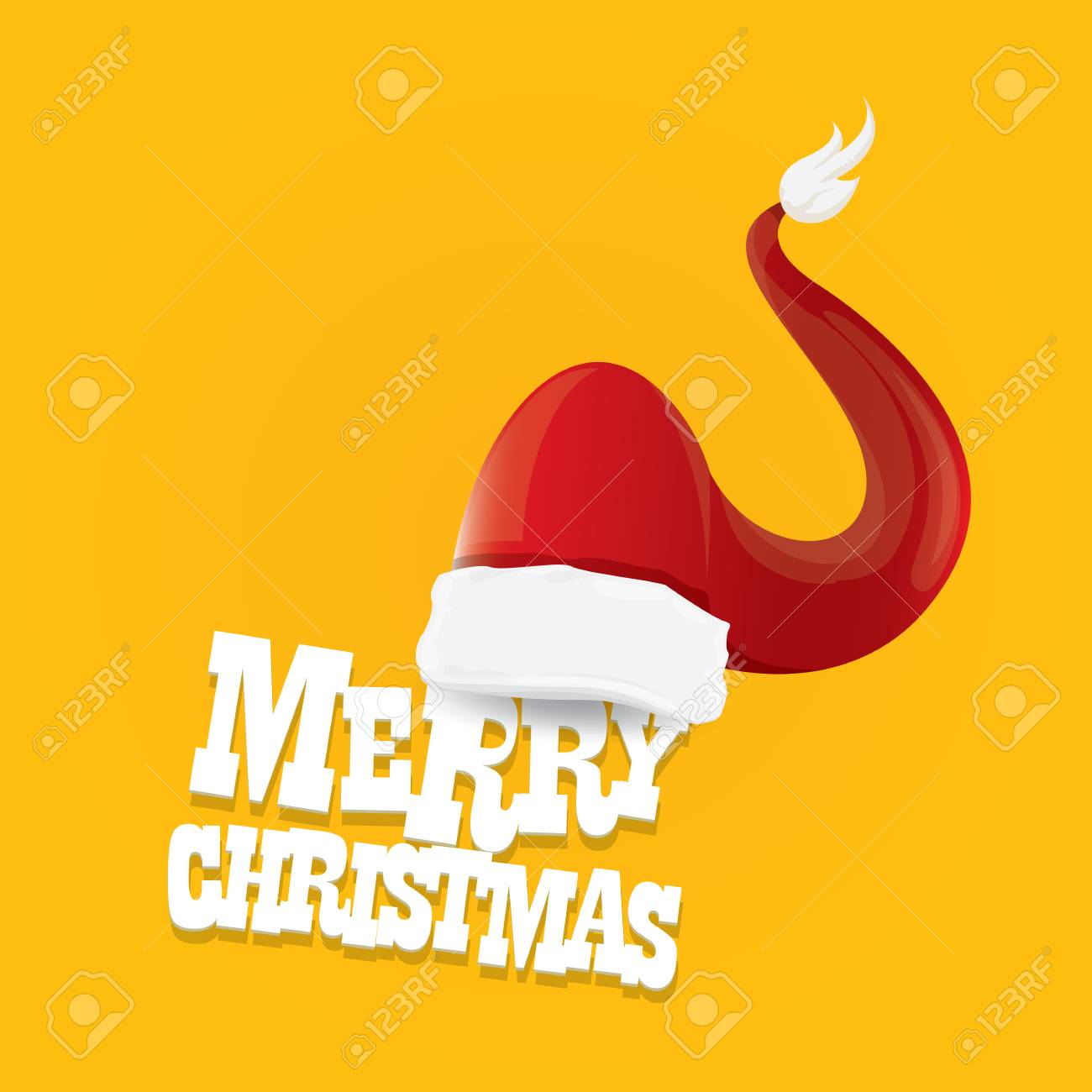 Vector Red Santa Hat On Orange Background With Greeting Text