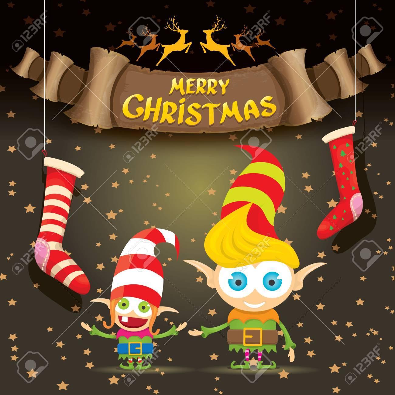 Vecteur Joyeux Carte De Voeux De Noël Avec Dessin Animé Noël Mignon