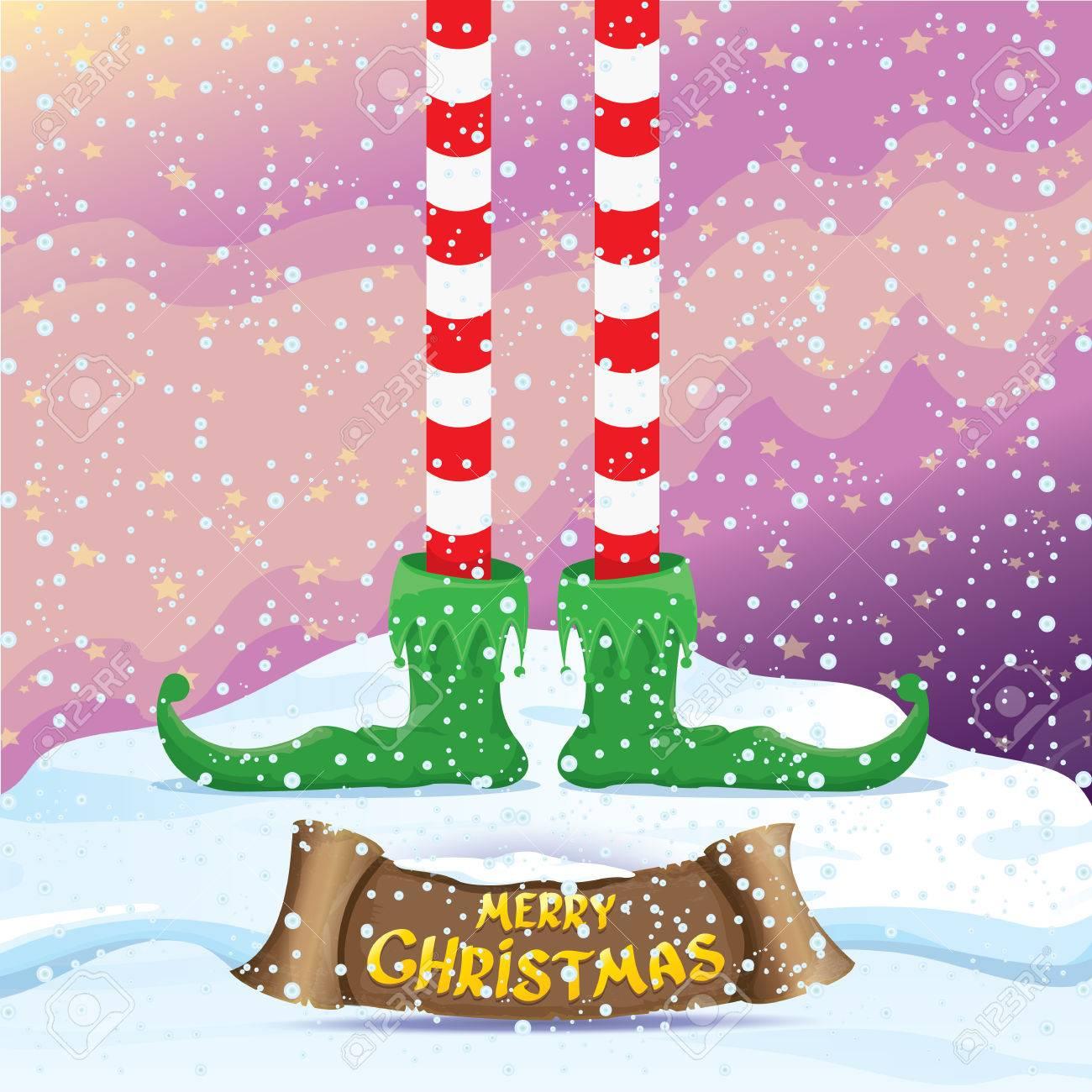 Dibujos De Navidad Creativos.Vectorial Feliz Tarjeta De Felicitacion De Navidad Creativo Con Elfs De Dibujos Animados Piernas En El Polo Norte Cubierto De Nieve Con Luces De