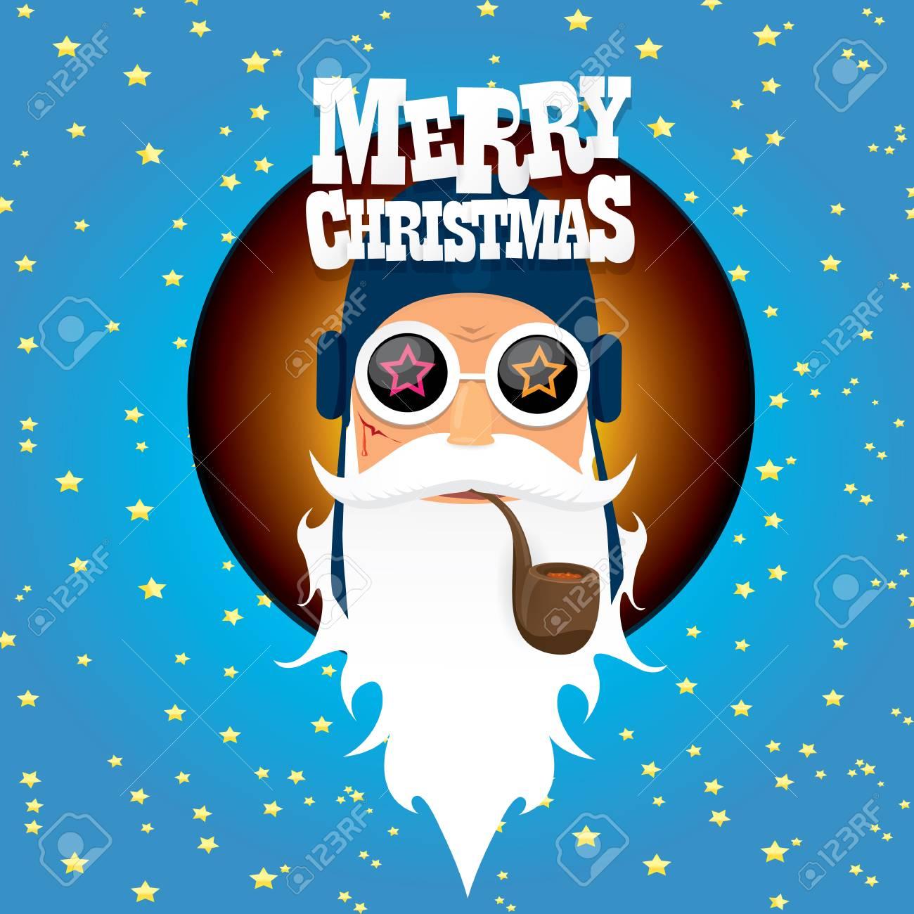 Vektor Rock N Roll Weihnachtsmann Mit Pfeife, Bart Und Funky Sankt ...