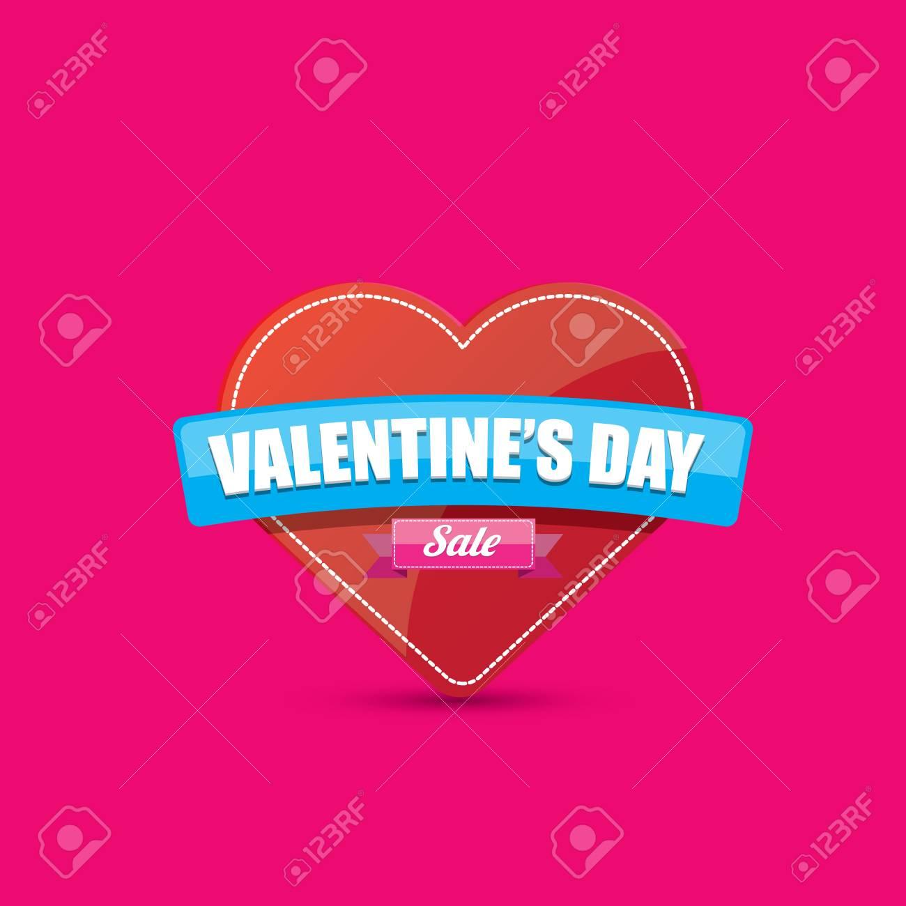 Día De San Valentín Corazón Etiqueta De Venta Aislado En Rosa Fotos ...