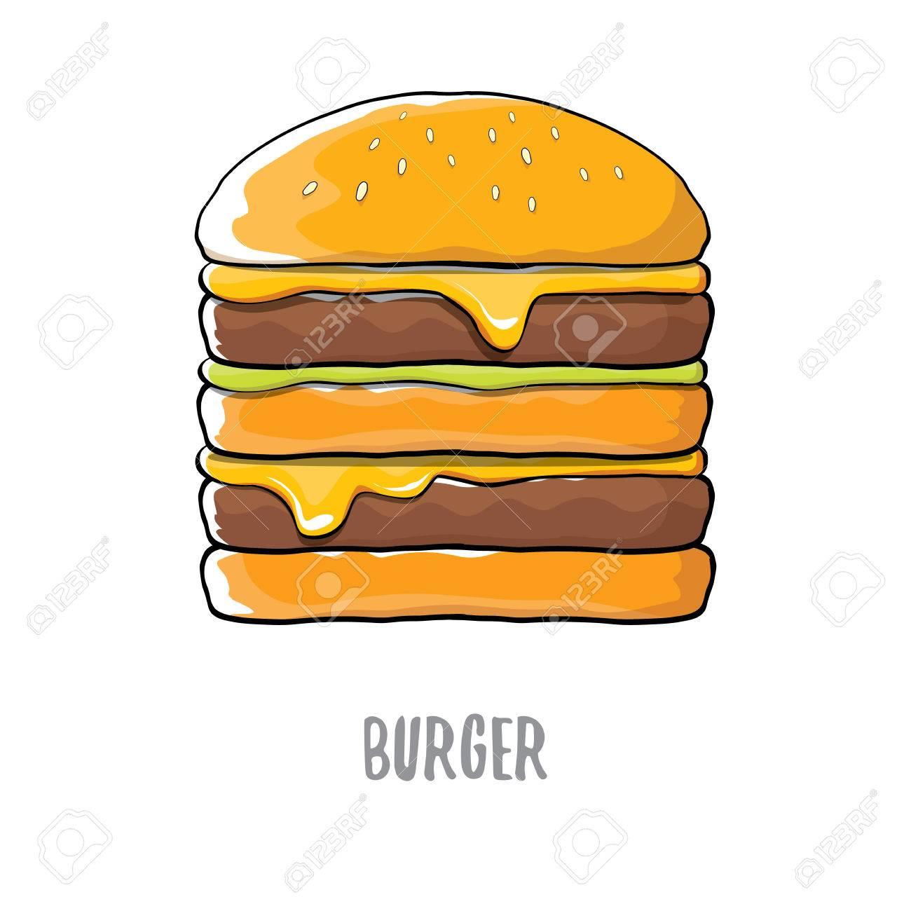 Hamburger De Dessin Animé De Vecteur Avec Fromage Viande Et Salade Icône Isolé Sur Fond Blanc Clip Art Libres De Droits Vecteurs Et Illustration Image 85864084