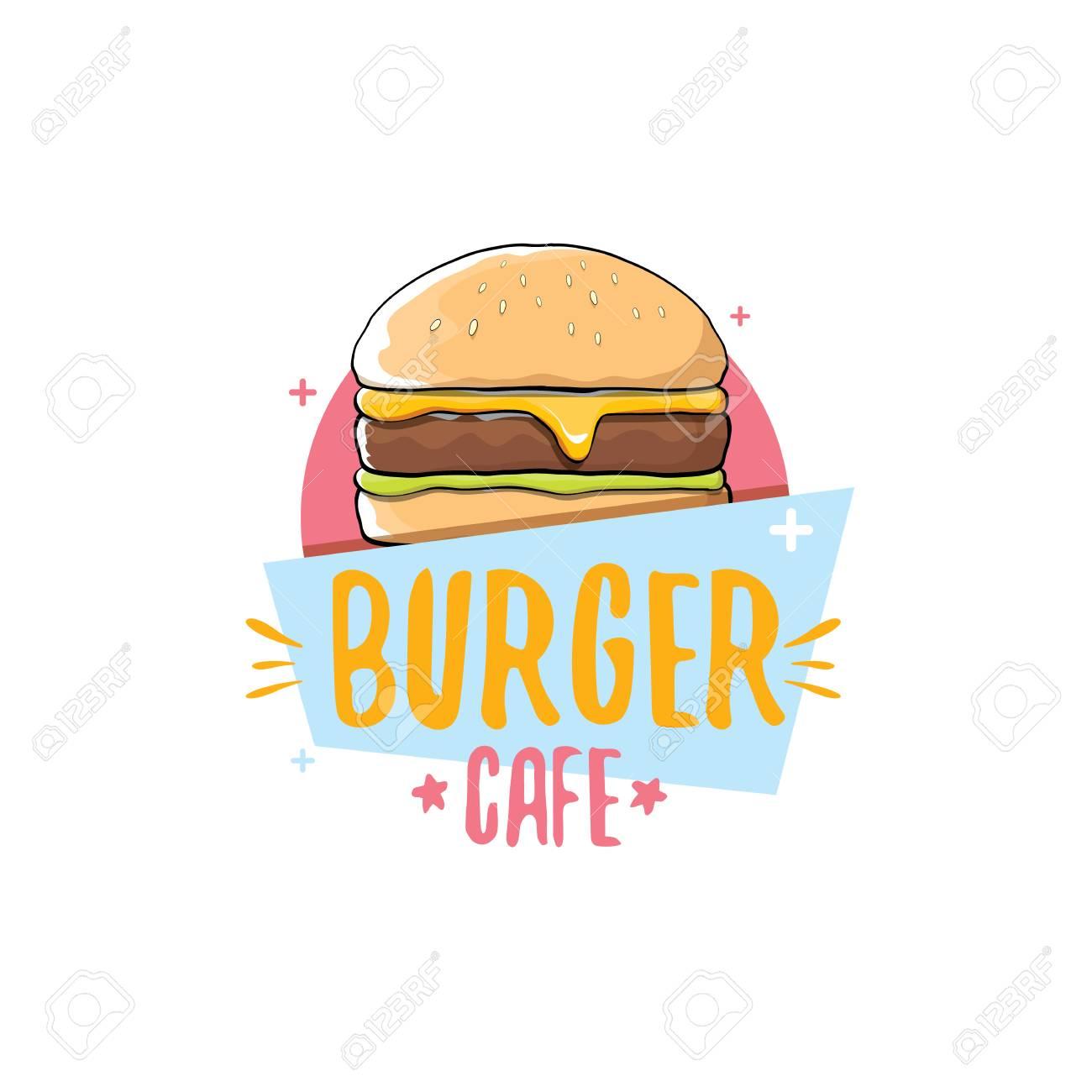 Vektor-Cartoon-Burger-Café-Logo-Design-Vorlage Mit Hamburger. Label ...