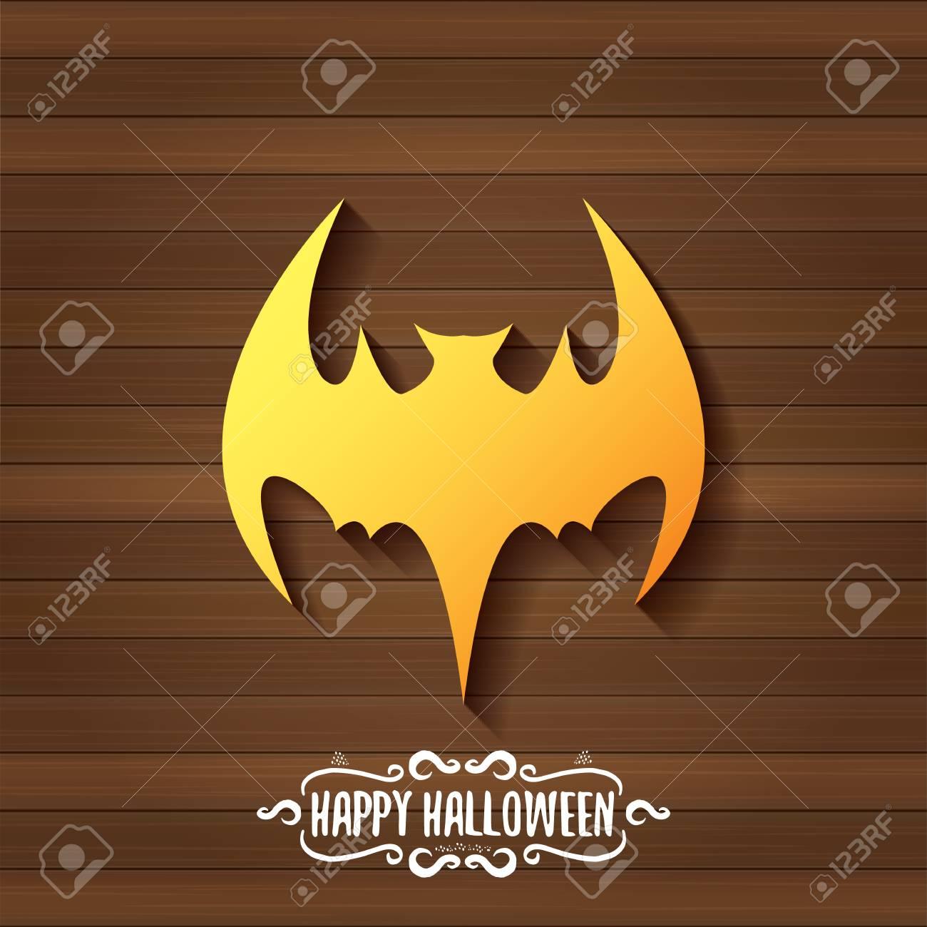Vector Halloween Golden Bat Animal Silhouette Label On Dark Old