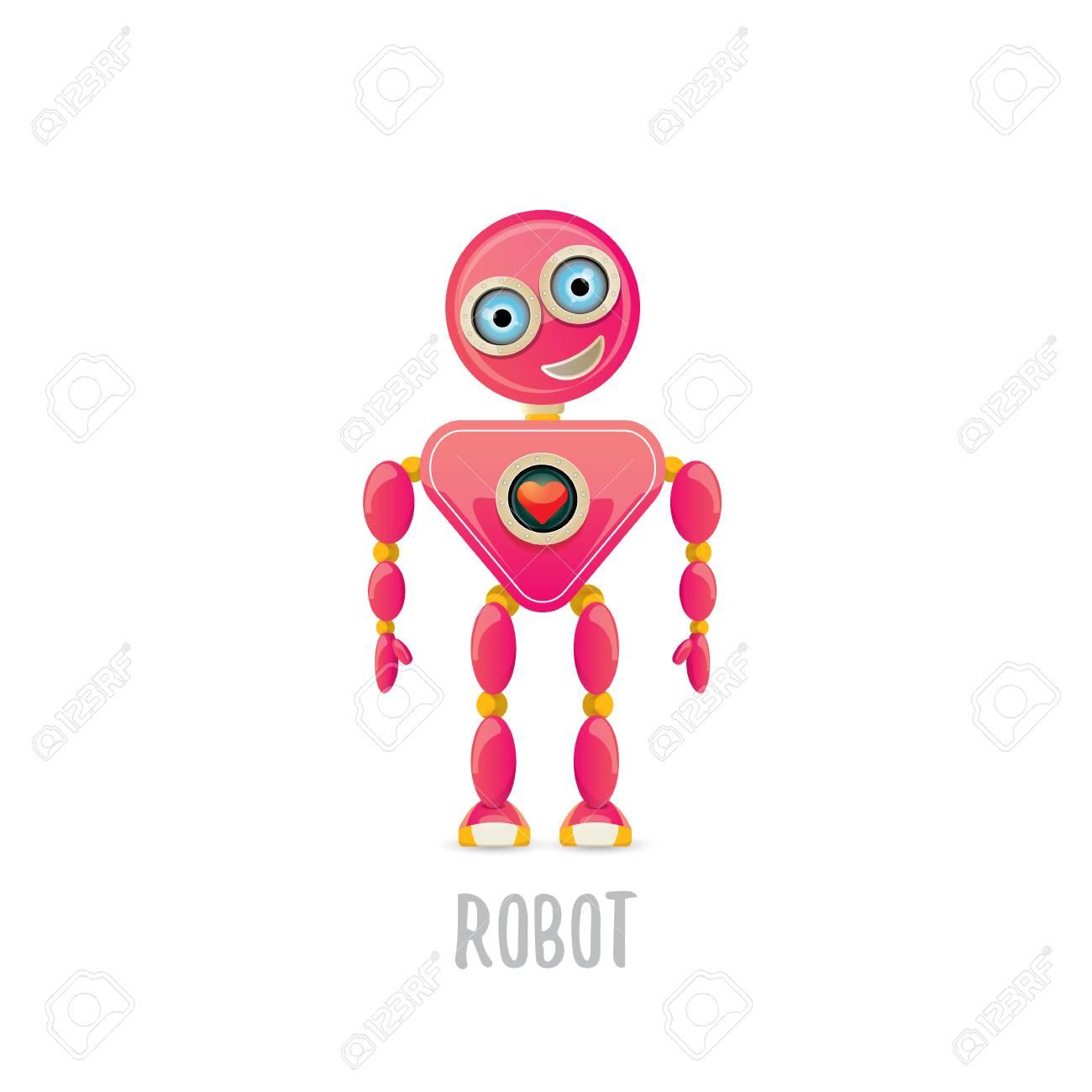 Vector Funny Cartoon Pink Amistoso Robot Personaje Aislado Sobre ...