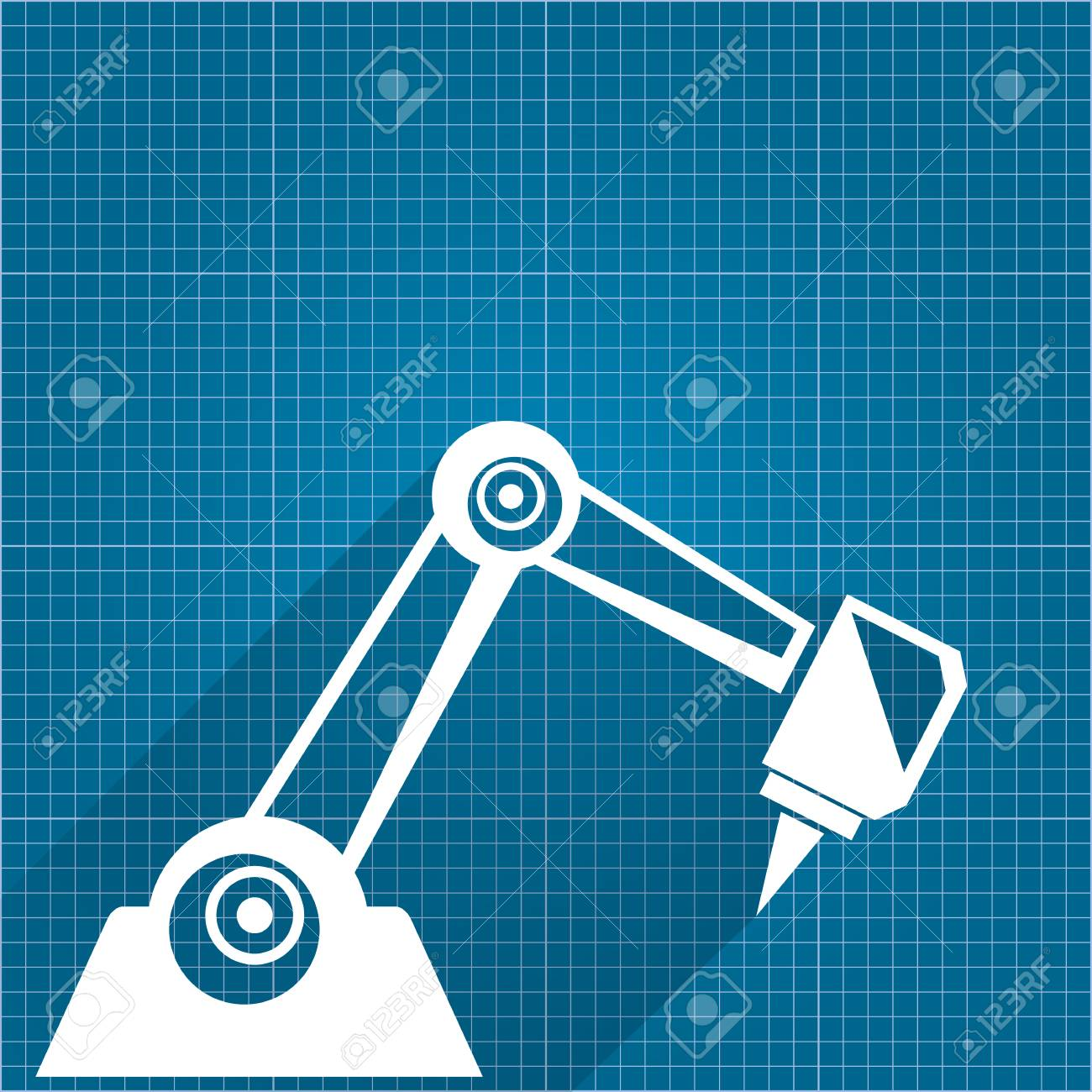 Vector   Vector Robotic Arm Symbol On Blueprint Paper Background. Robot  Hand. Technology Background Design