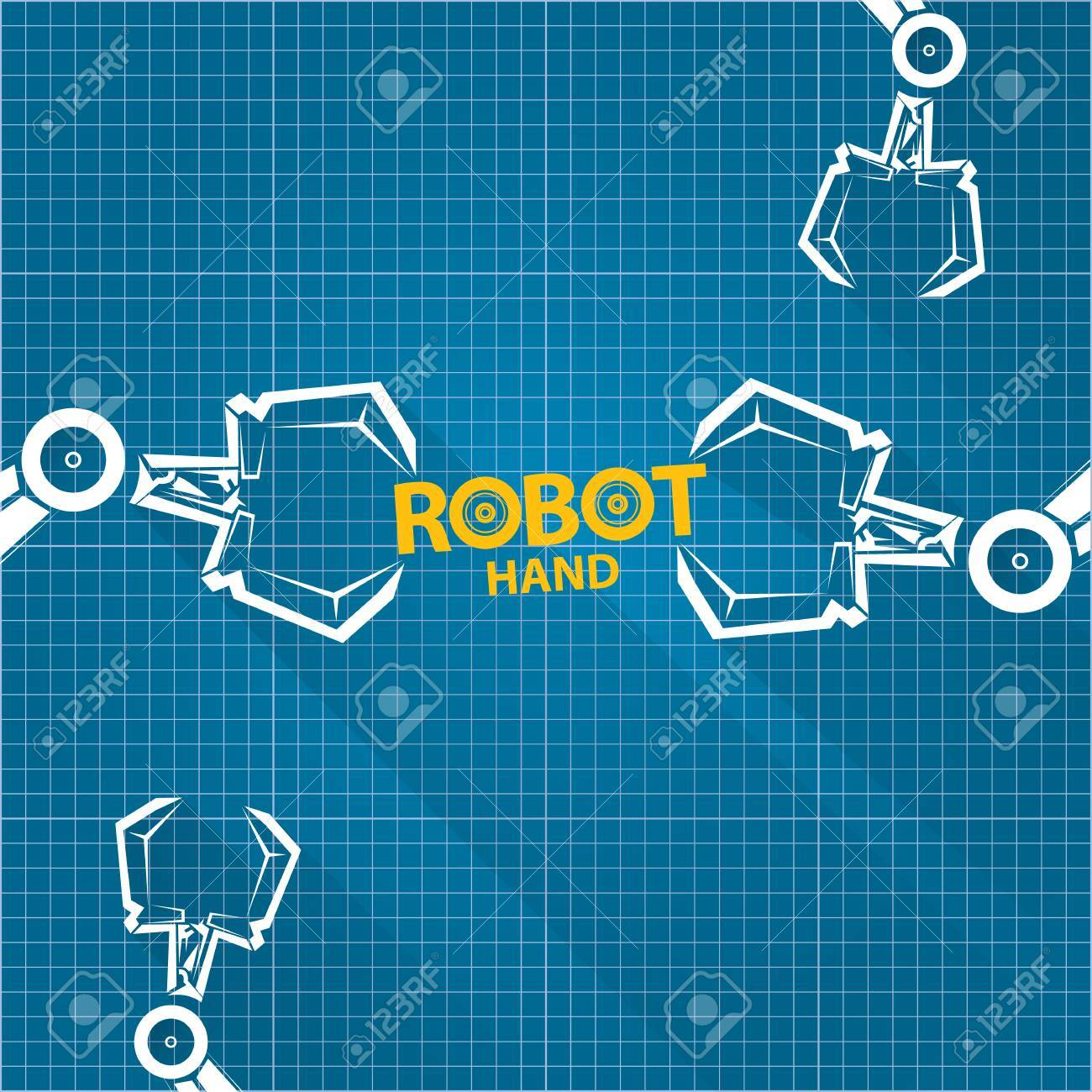 Vector robotic arm symbol on blueprint paper background robot vector robotic arm symbol on blueprint paper background robot hand technology background design stock malvernweather