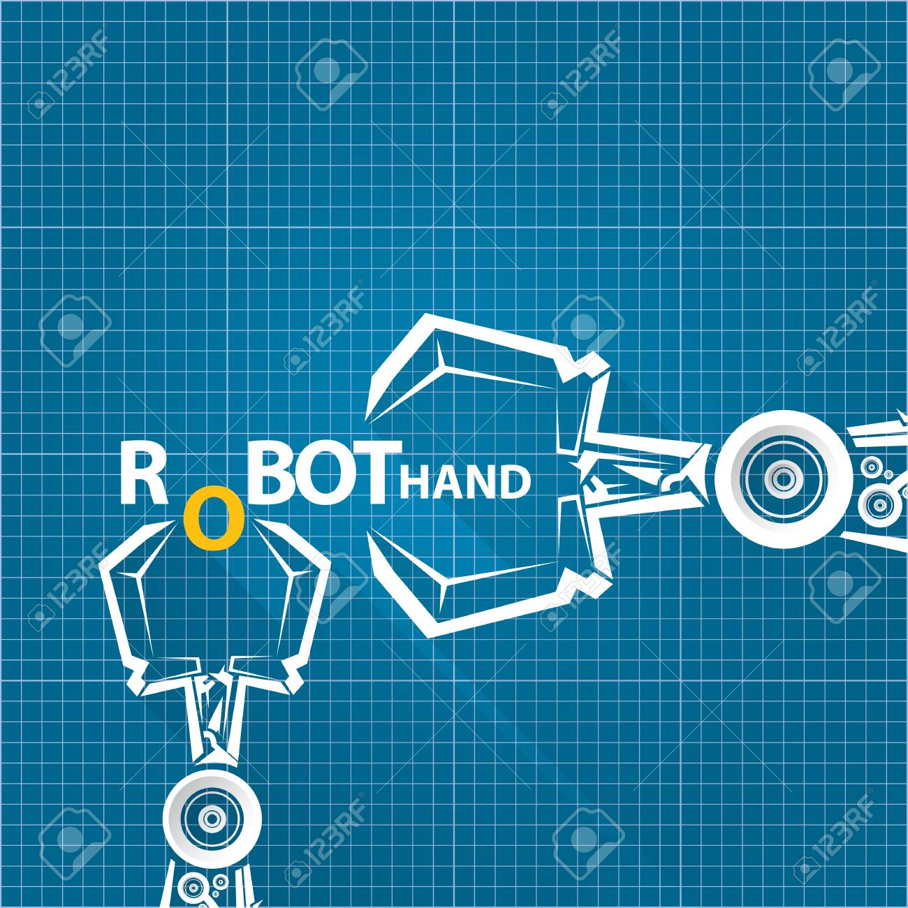 Vector robotic arm symbol on blueprint paper background robot vector vector robotic arm symbol on blueprint paper background robot hand technology background design malvernweather Gallery