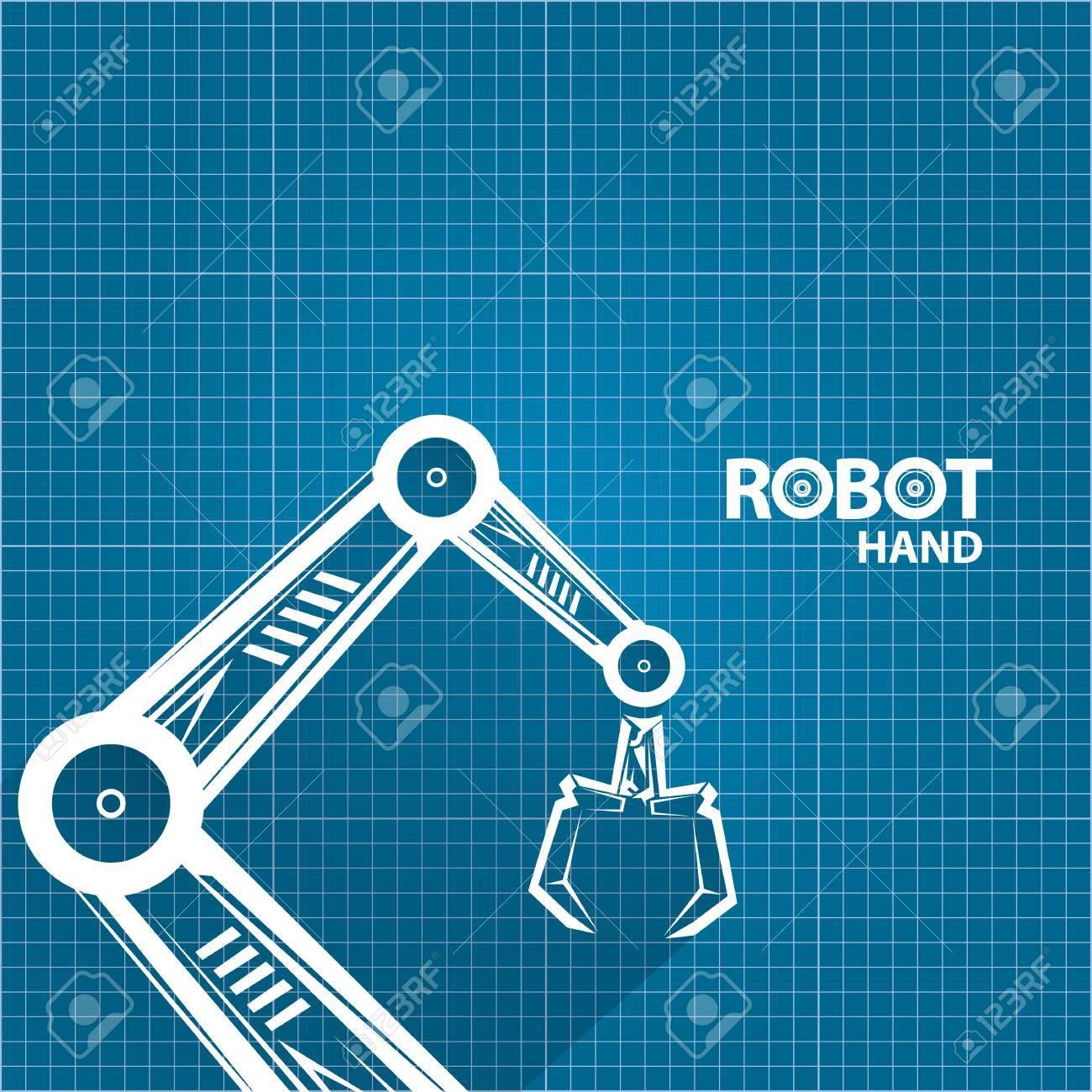 Vector robotic arm symbol on blueprint paper background robot vector vector robotic arm symbol on blueprint paper background robot hand technology background design malvernweather Gallery