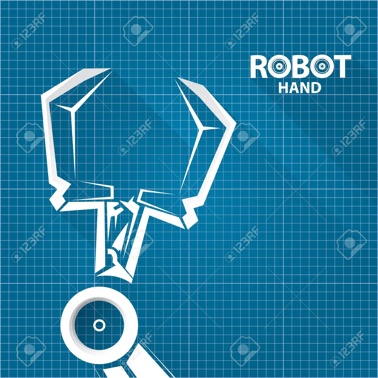 Vector robotic arm symbol on blueprint paper background robot hand vector robotic arm symbol on blueprint paper background robot hand technology background design foto malvernweather Gallery
