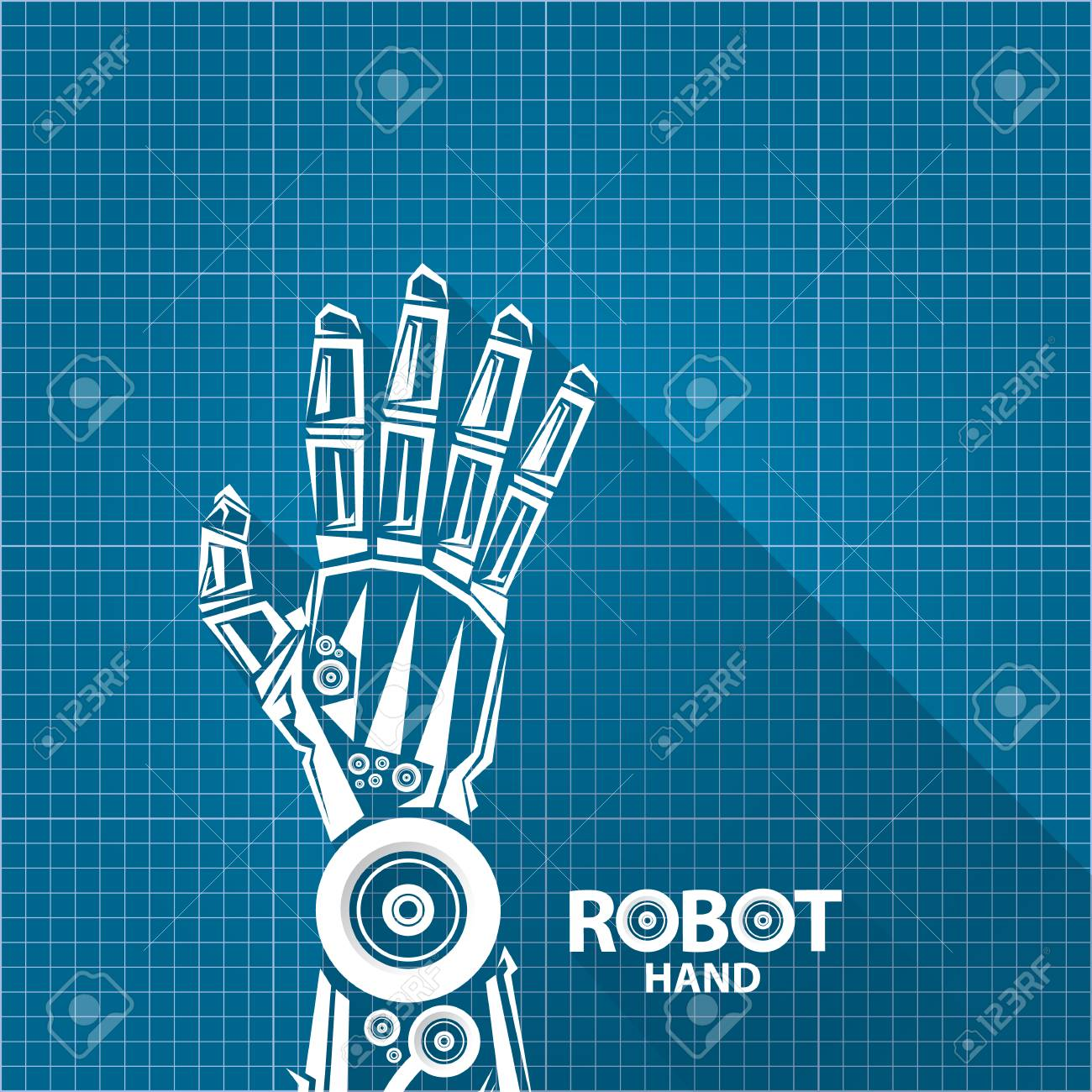 Vector robotic arm symbol on blueprint paper background robot vector vector robotic arm symbol on blueprint paper background robot hand technology background design malvernweather Images